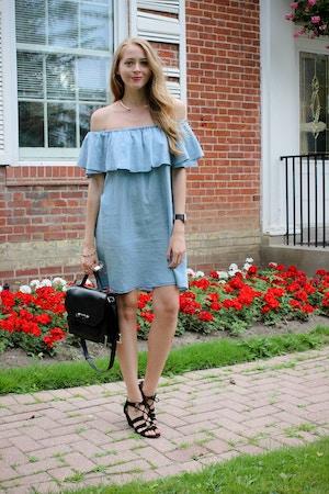 zara chambray ruffle dress outfit (3 of 8)