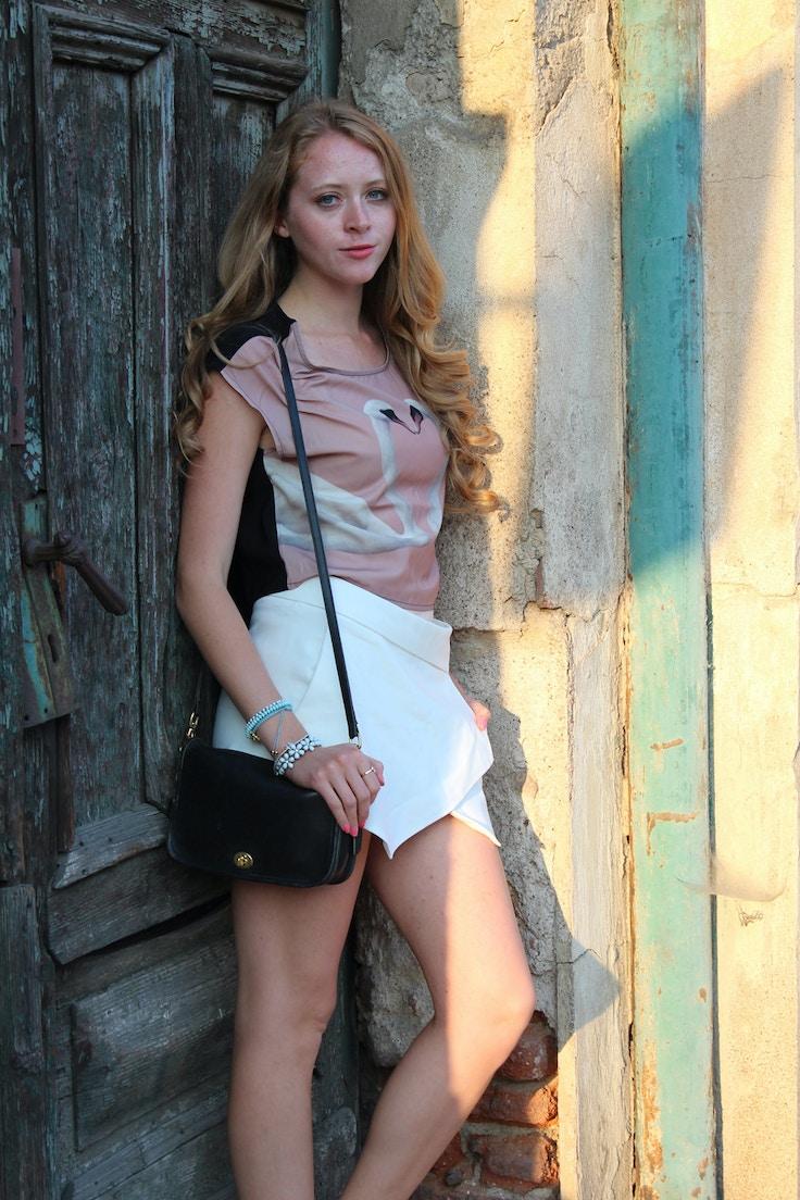 zara culotte shorts swan shirt