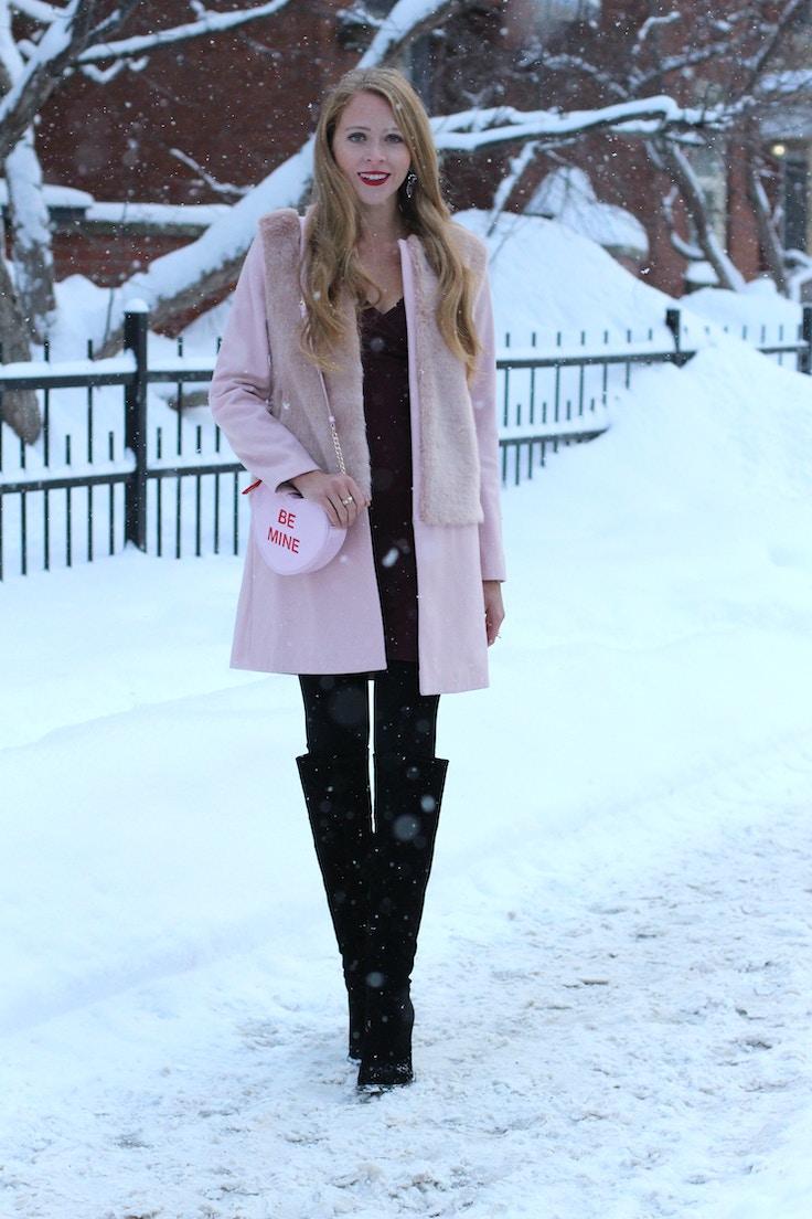zara pink coat heart clutch