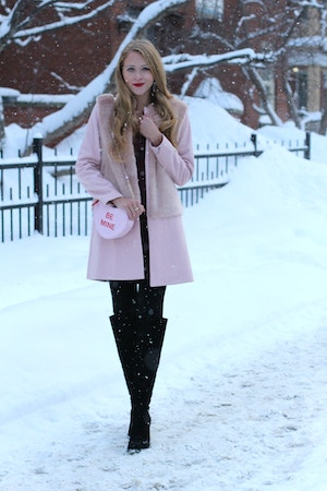 zara pink faux fur coat