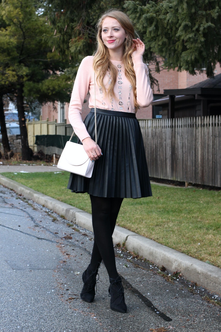 zara pleated pleather skirt