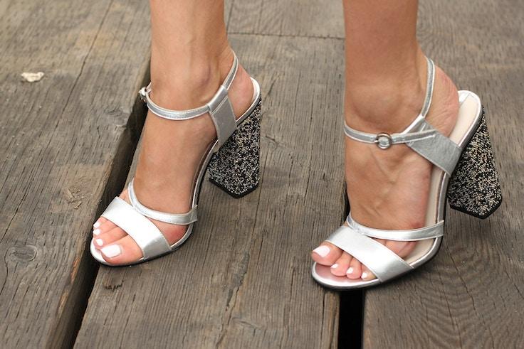 zara silver sparkly heeled sandal