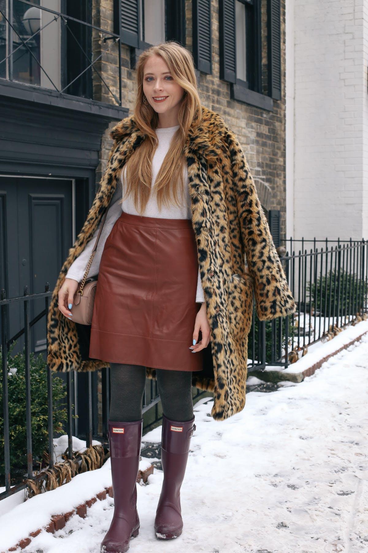 Leopard coat and Hunter Boots