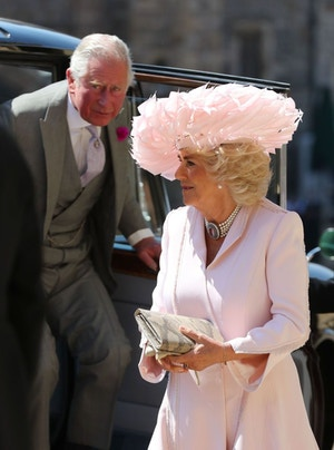 duchess of cornwall camilla royal wedding pink feather hat