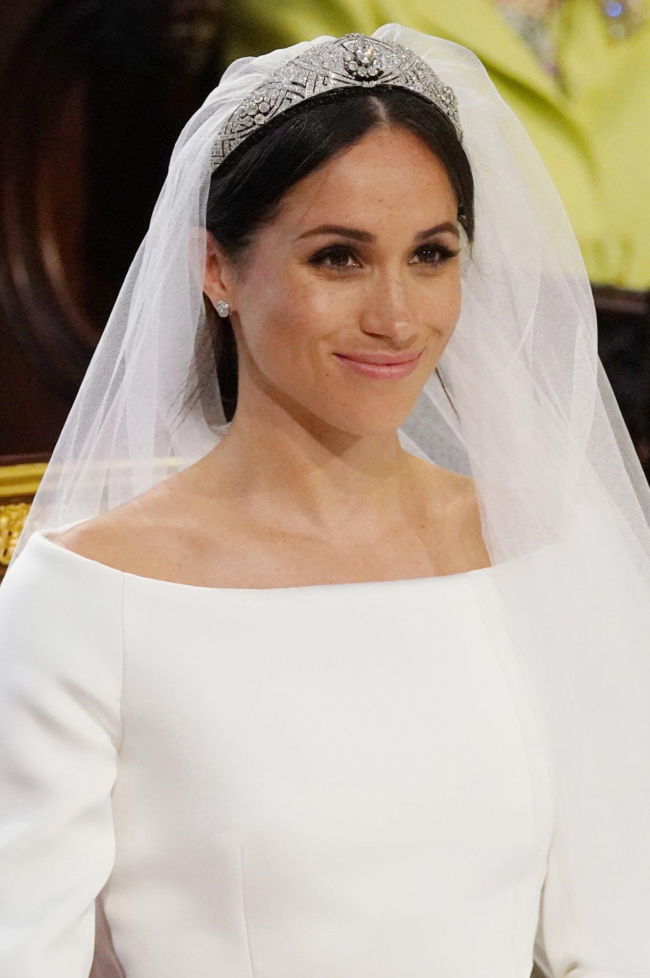 meghan markle Queen Mary Diamond Bandeau tiara wedding day