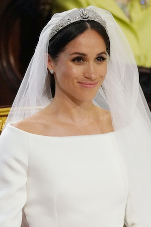 meghan markle Queen Mary Diamond Bandeau tiara wedding day