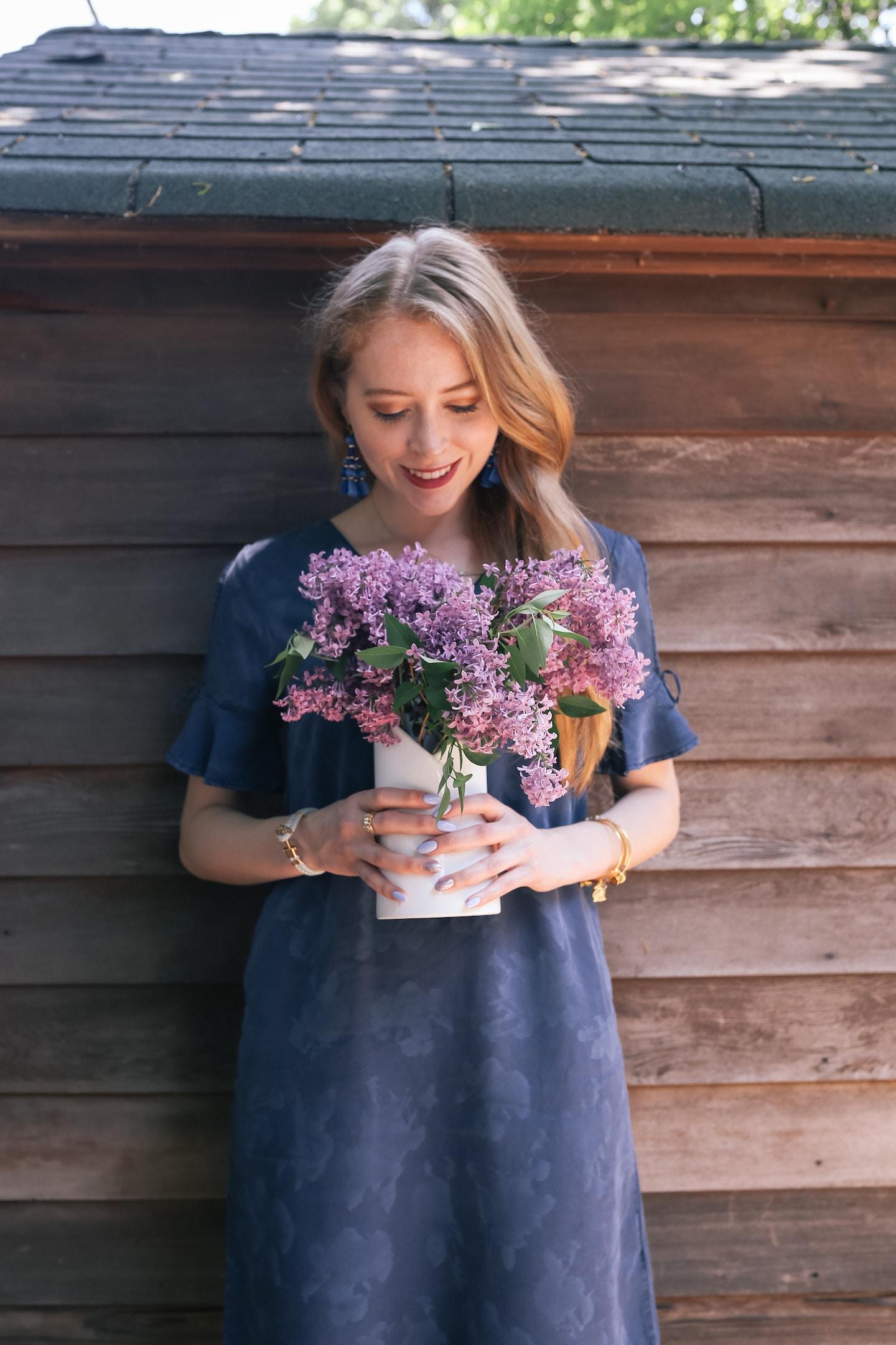 Lilacs and Denim Dresses