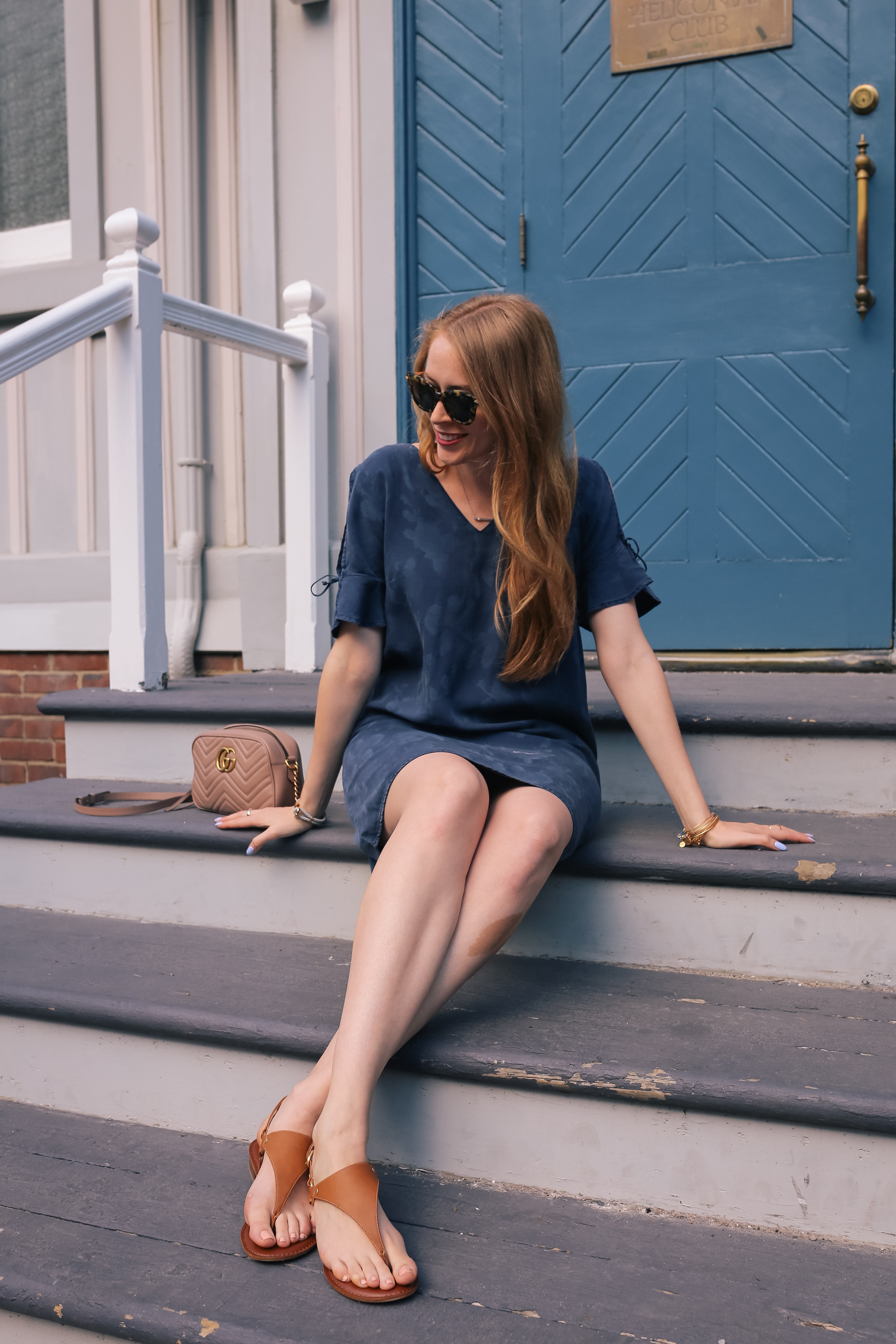 denim dress outfit with brown sandals