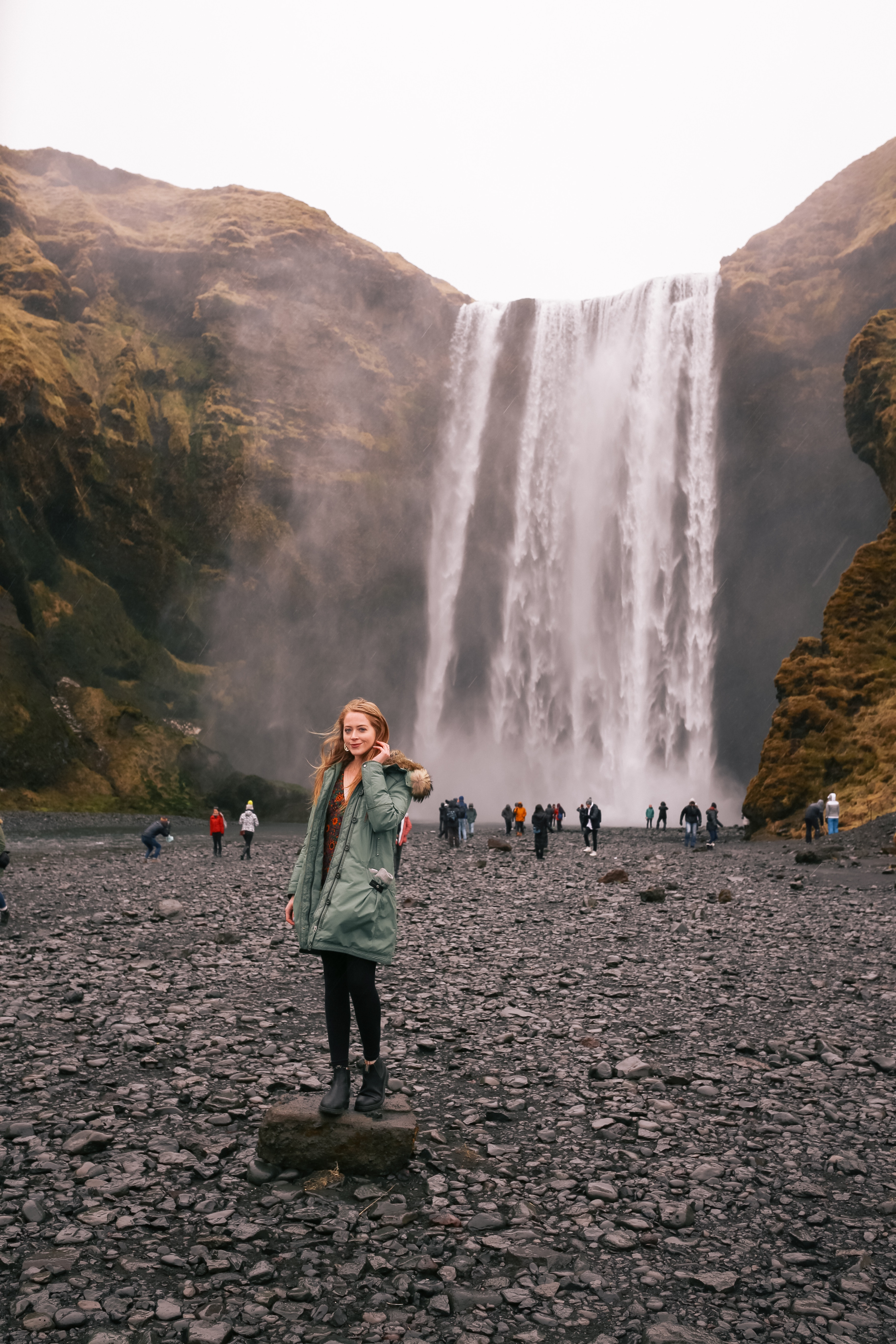 Skógafoss Waterfall in South Iceland: a mighty, natural waterfall is a total wonder, and only a two-hour drive from Reykjavik. I wore a Parajumpers parka, fleece leggings and Blundstone boots to visit this natural wonder.