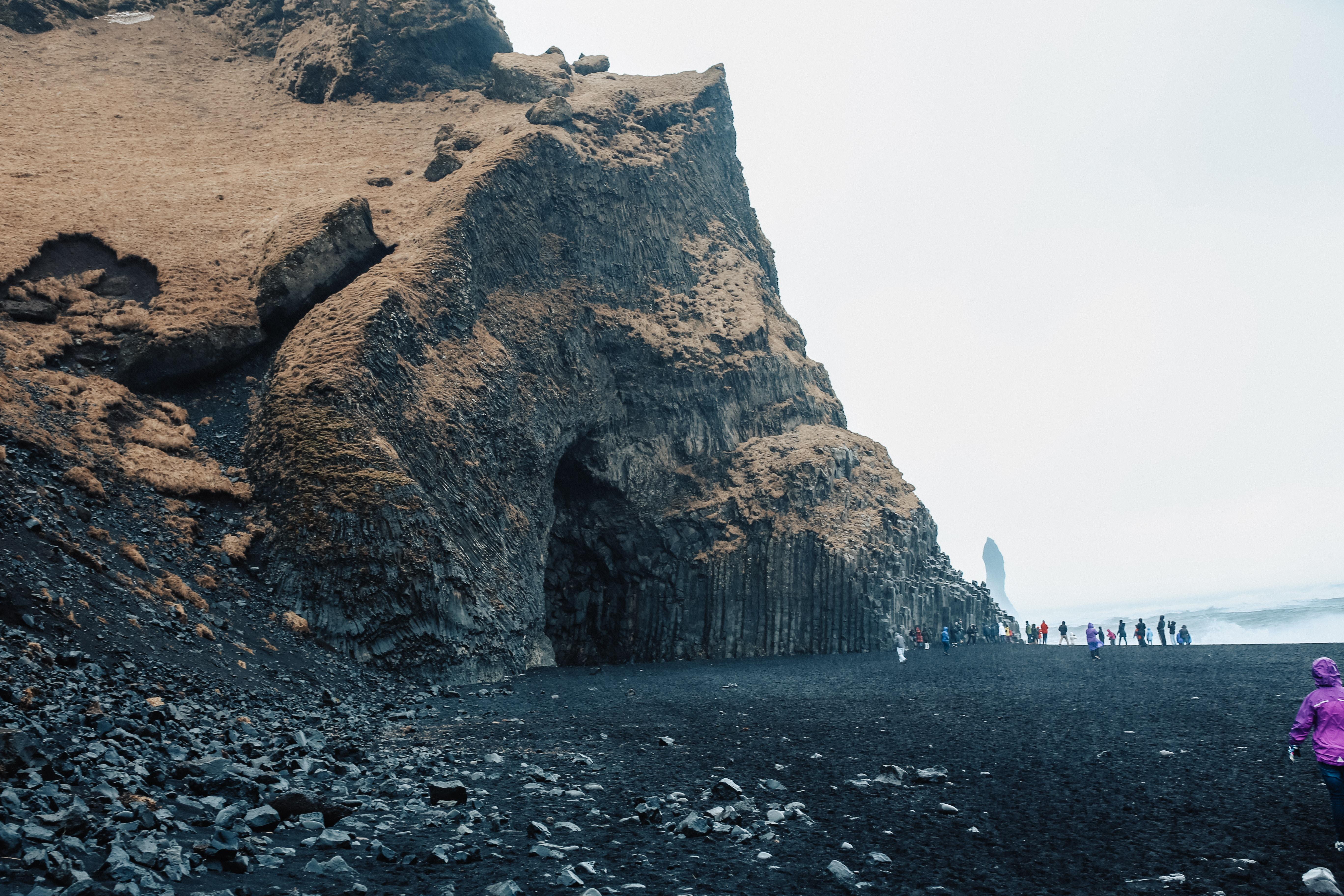 Stunning vistas at Iceland's black sand beach, Reynisfjara Beach located in Vík.