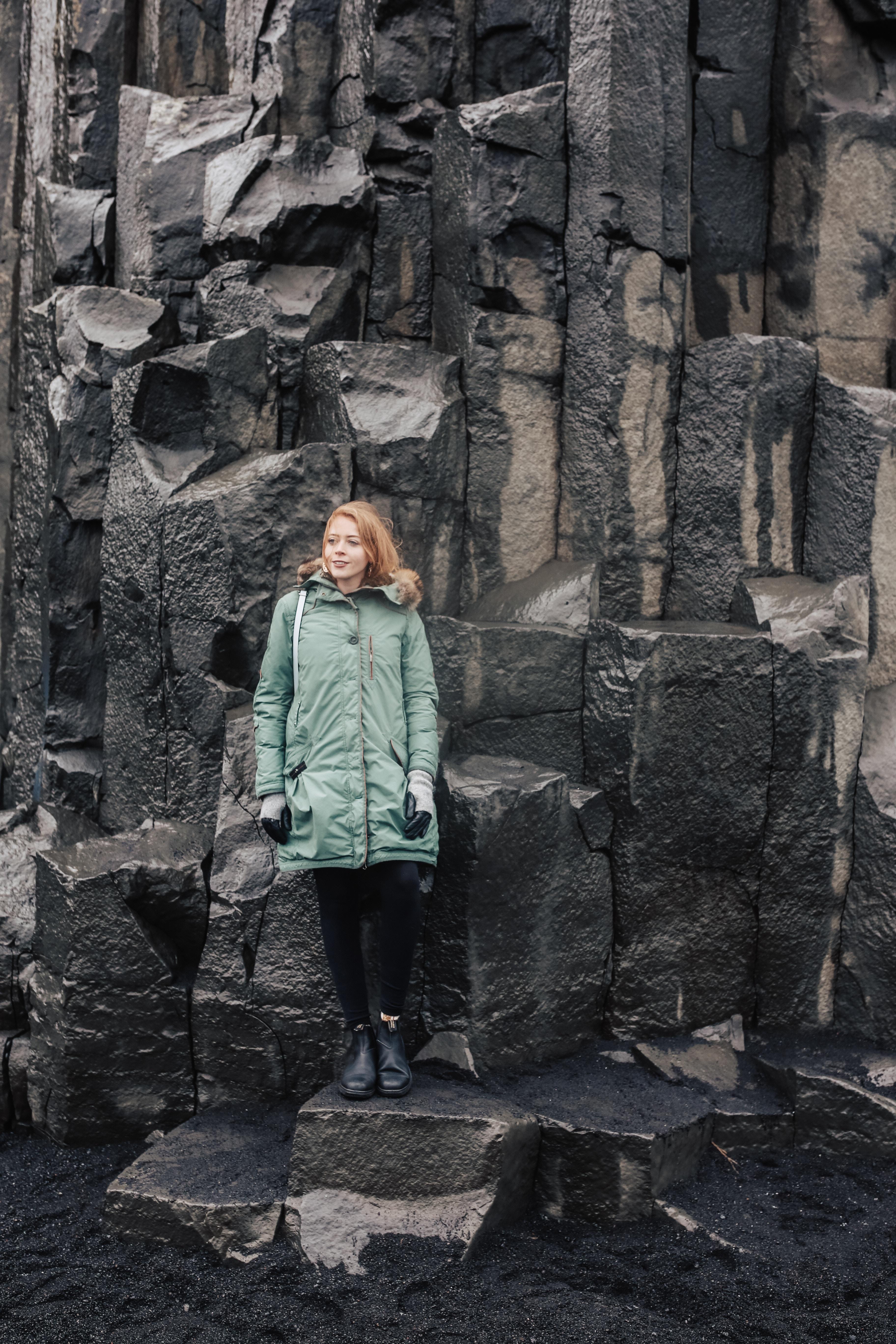 Exploring the infamous Reynisdrangar basalt sea rocks at Reynisfjara Beach in South Iceland.