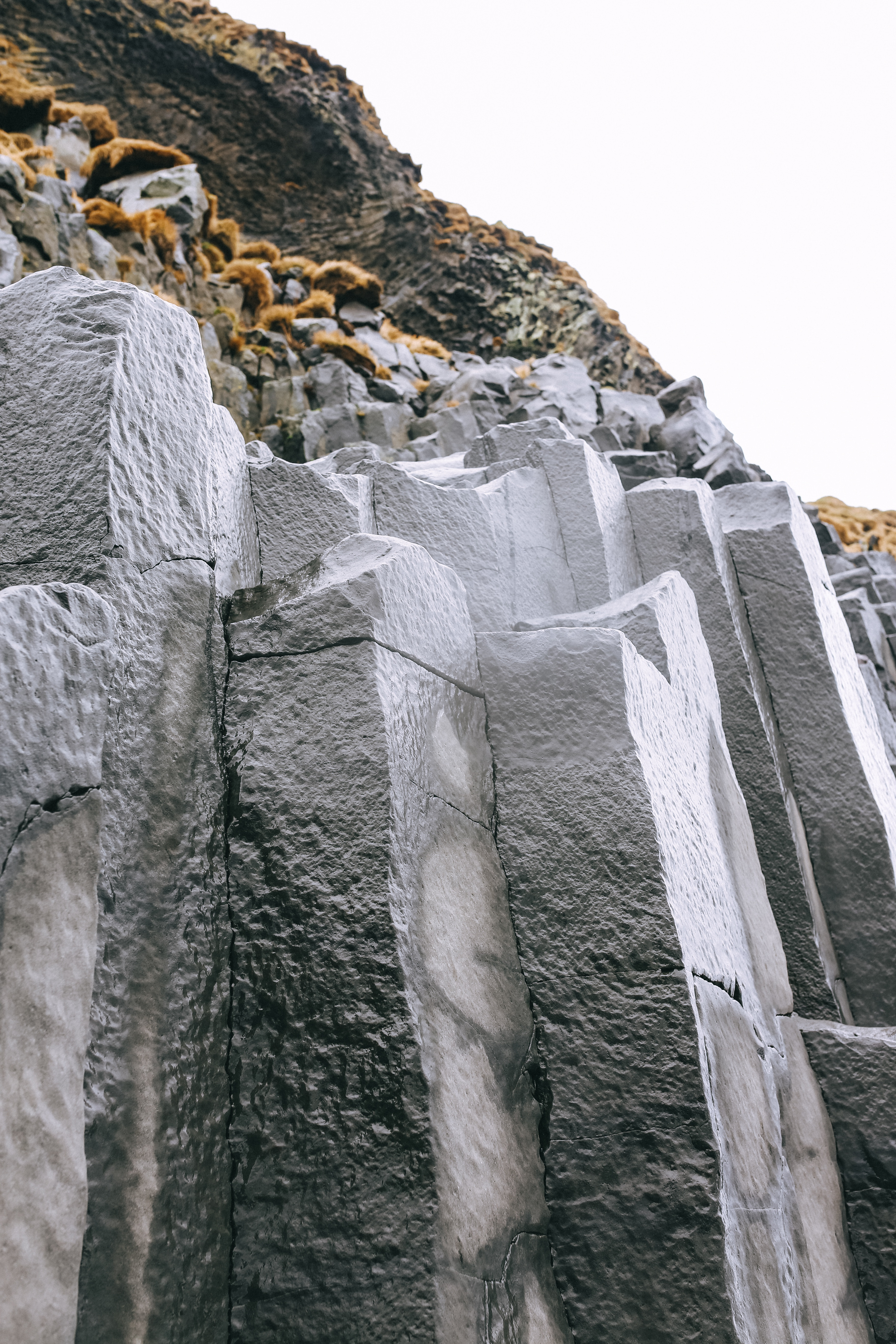 Basalt columns at Reynisfjara Beach in Vik, Iceland.