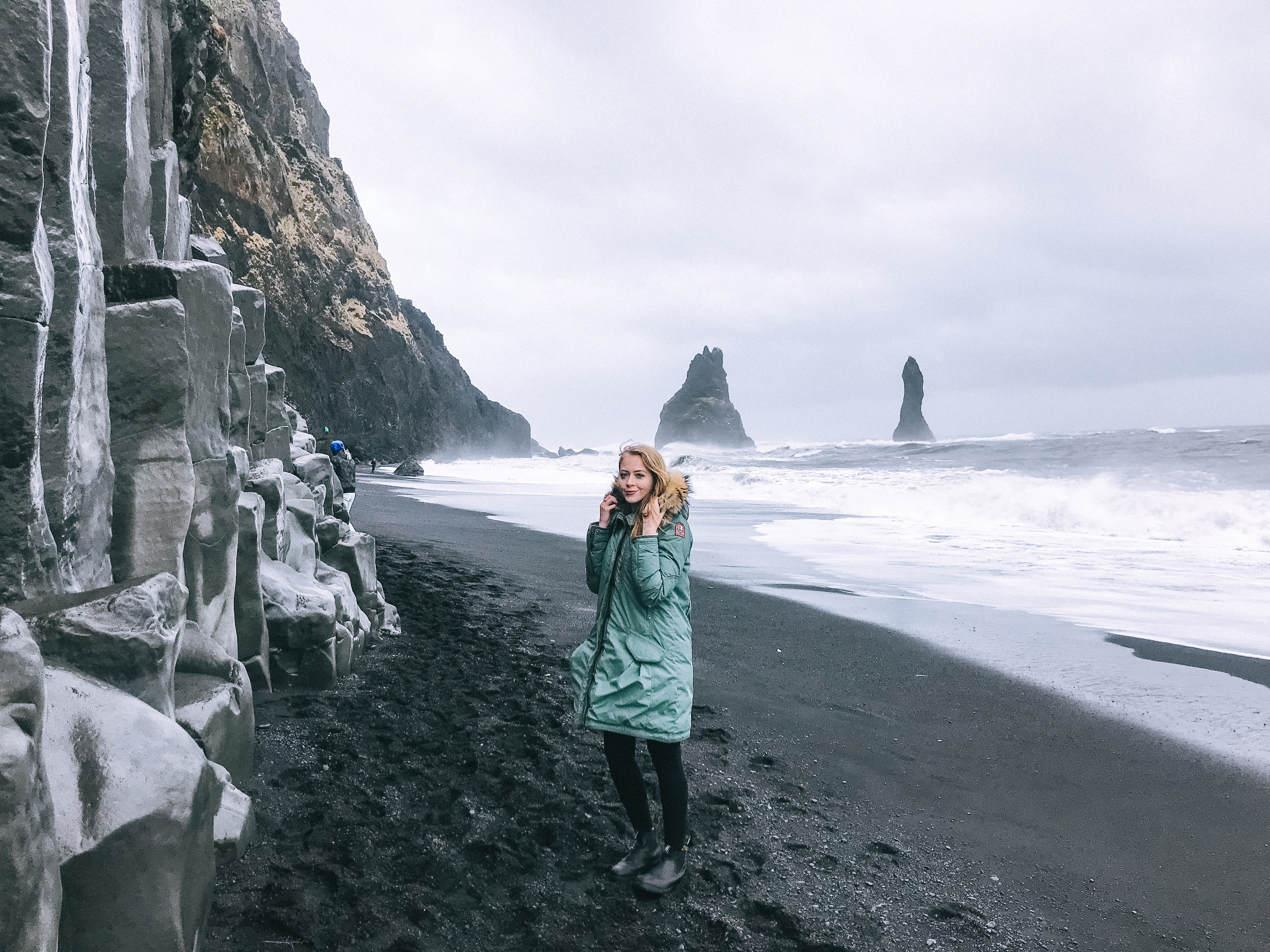 Reynisfjara black sand beach is dangerous to visit, but gorgeous even in bad weather conditions. I wore a classic parka from Parajumpers to handle the elements.