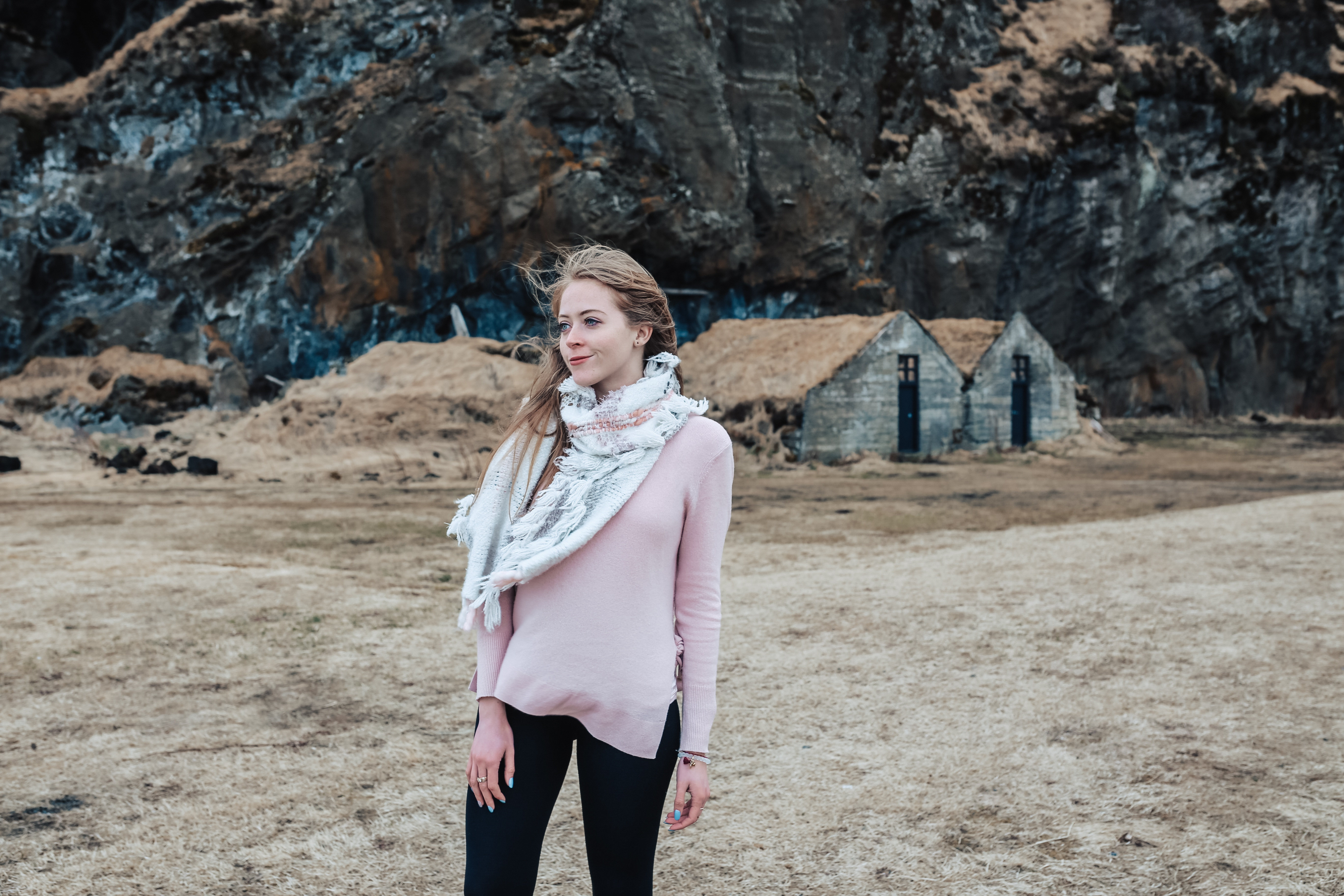 Wearing a Halogen Cashmere sweater in Iceland