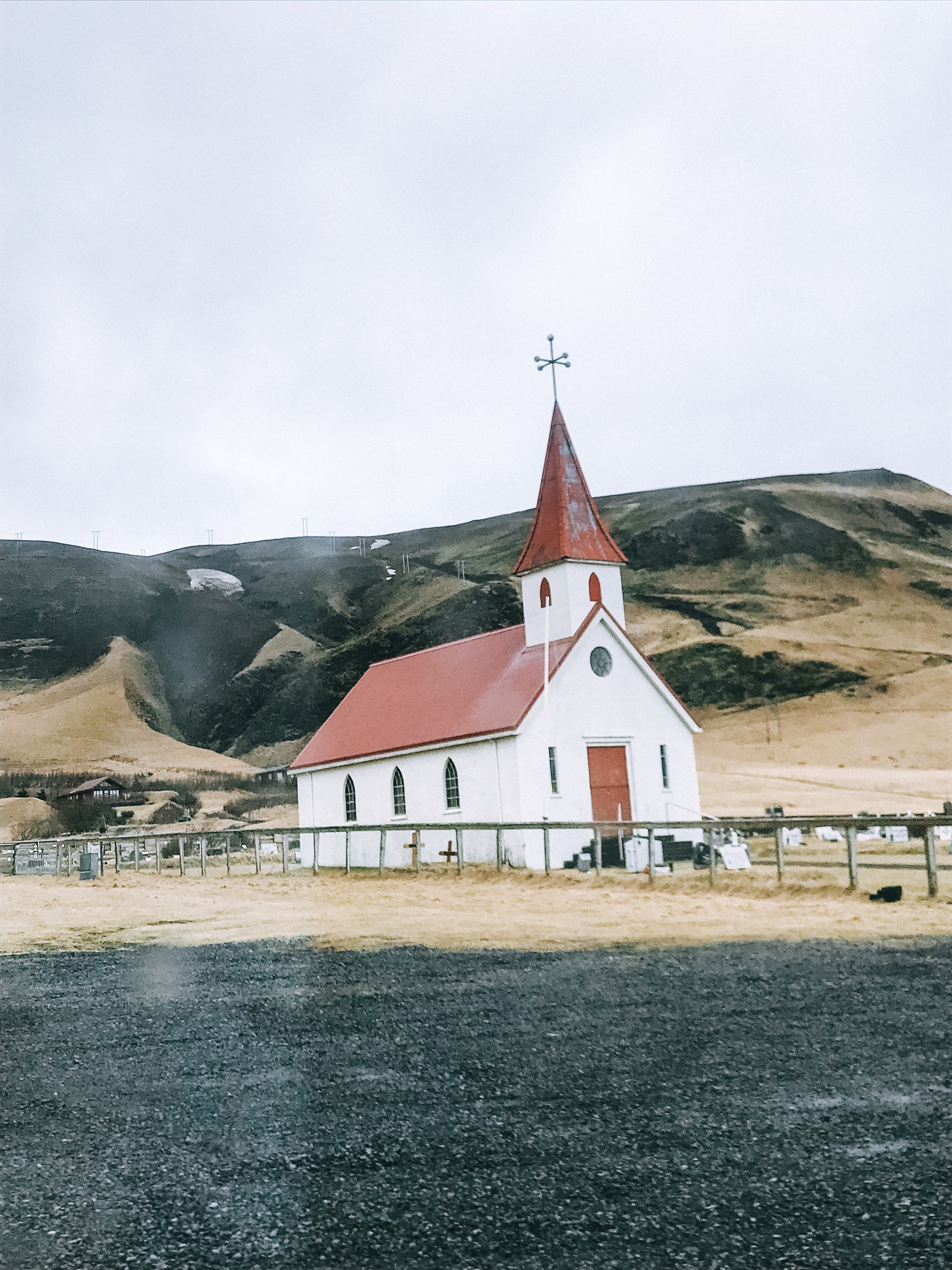 Classic red and white church in Vik, Iceland