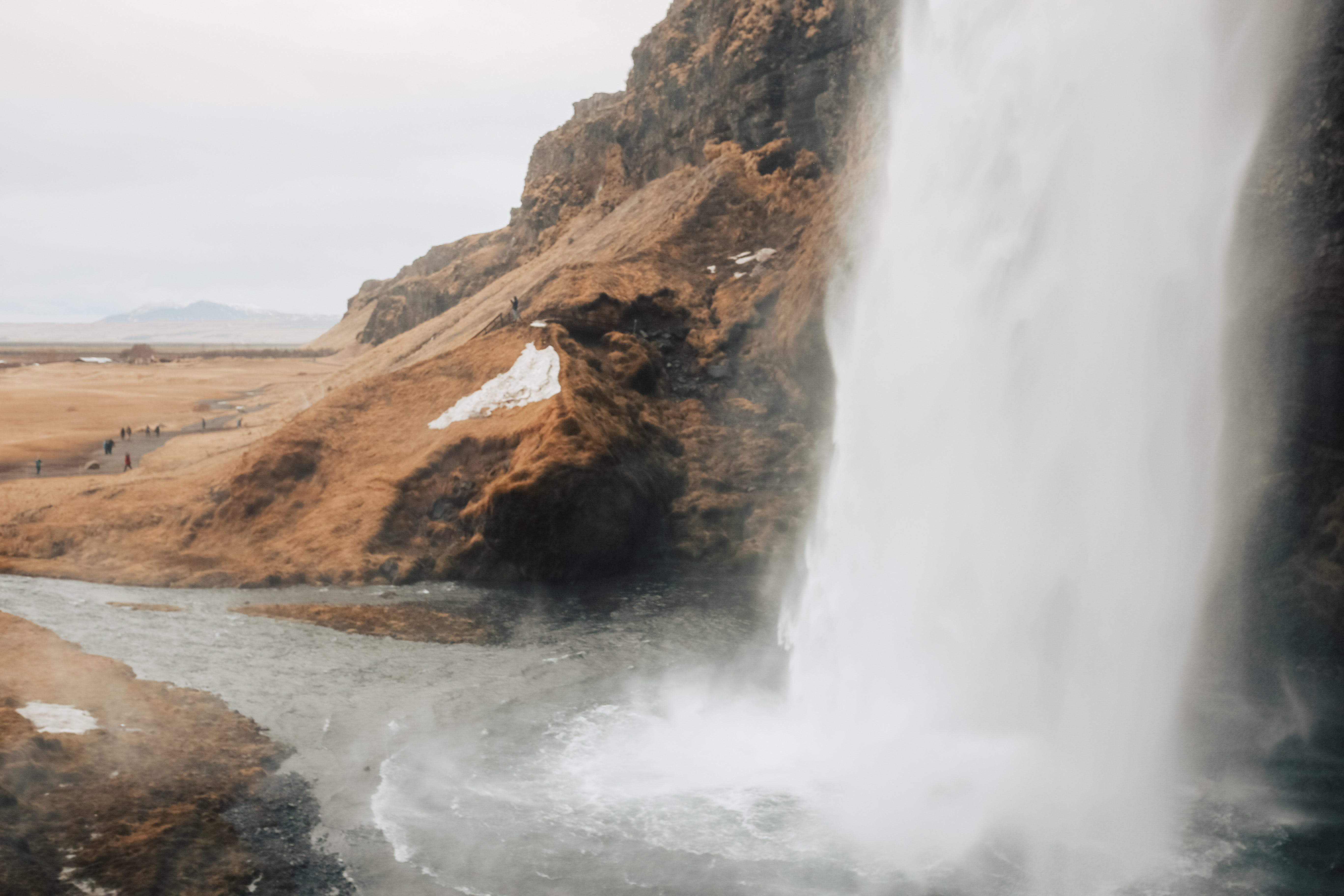 Water streaming from Seljalandfoss waterfall in South Iceland.