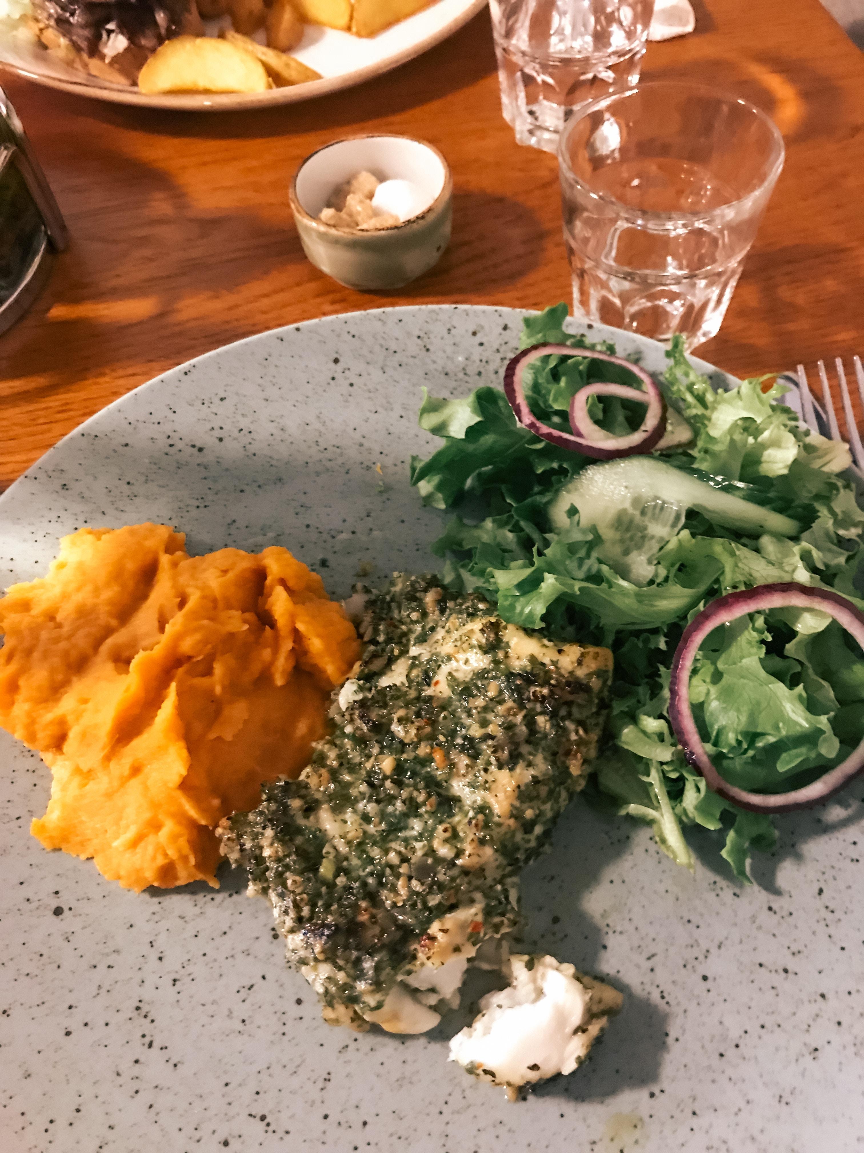 Fresh cod at a restaurant in Vik, Iceland.