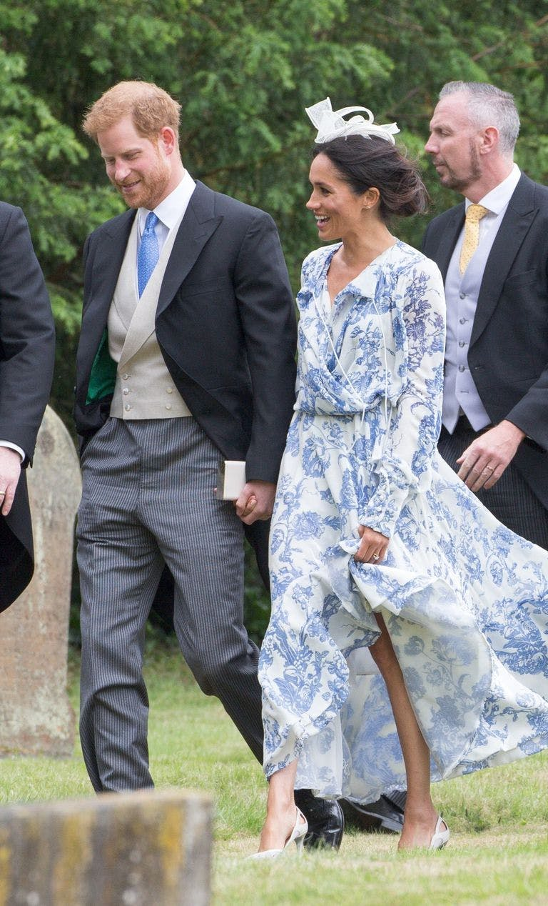 meghan markle blue oscar de la renta floral dress