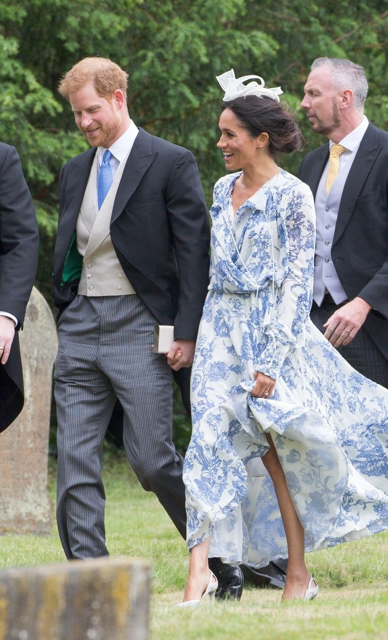 meghan markle blue oscar de la renta floral dress