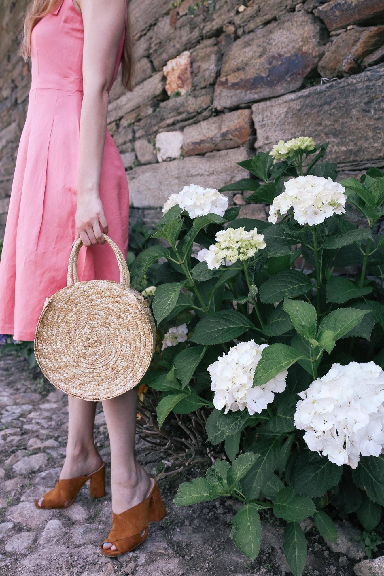 round straw bag and mules