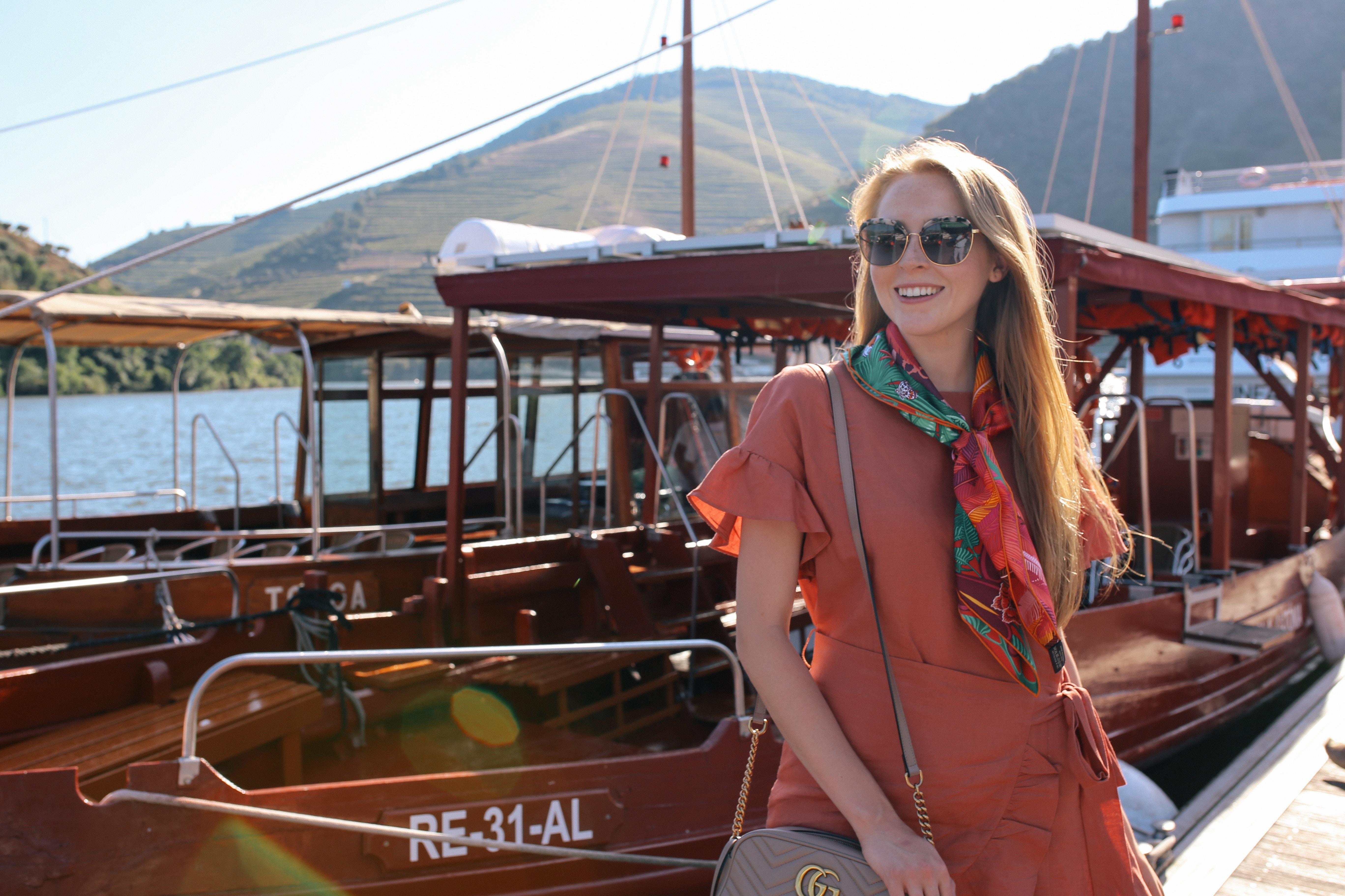 Douro River boat cruise in Pinhão wearing Hermes Jaguar Quetzal silk scarf