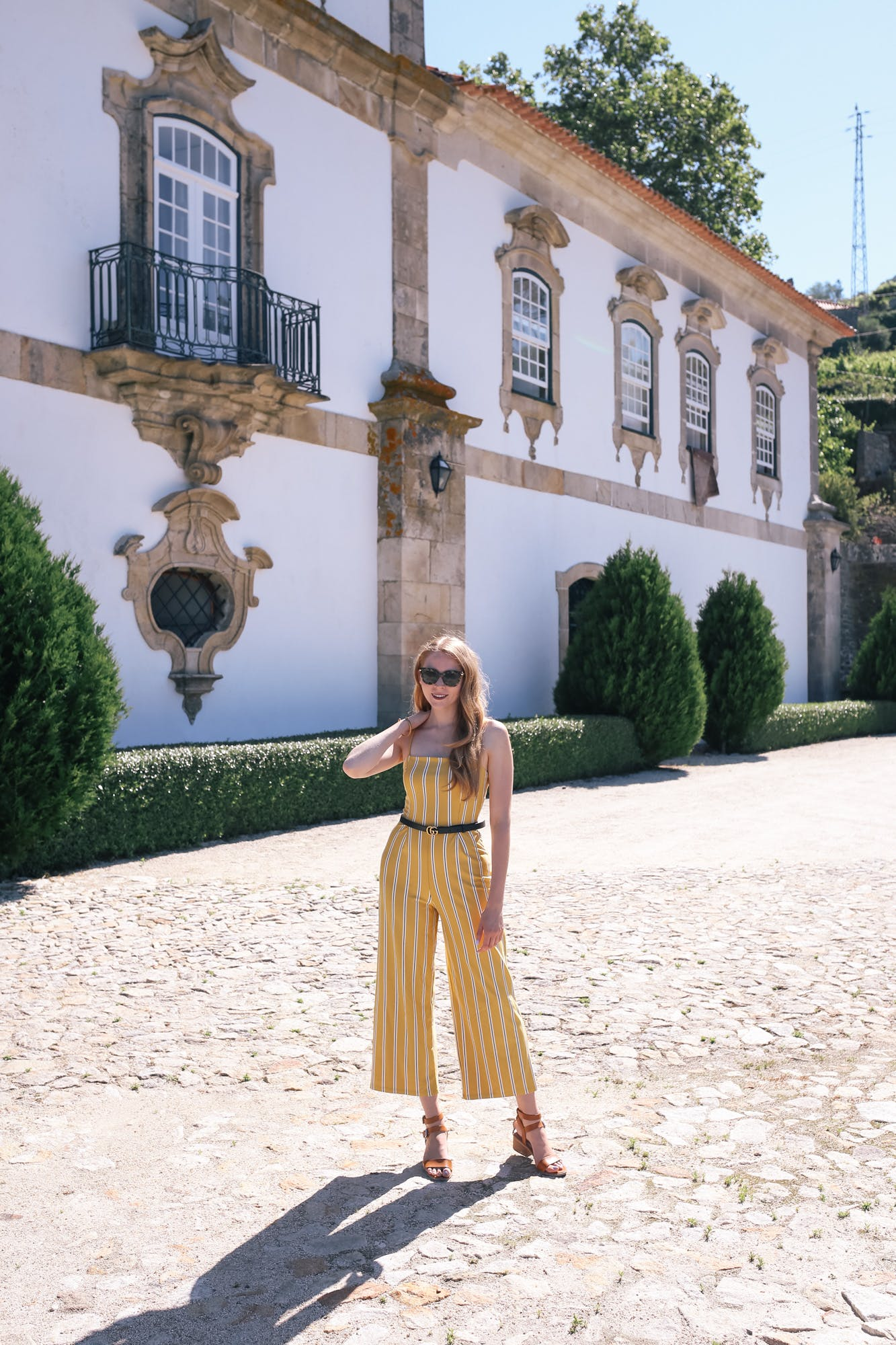 yellow striped jumpsuit with gucci marmont belt