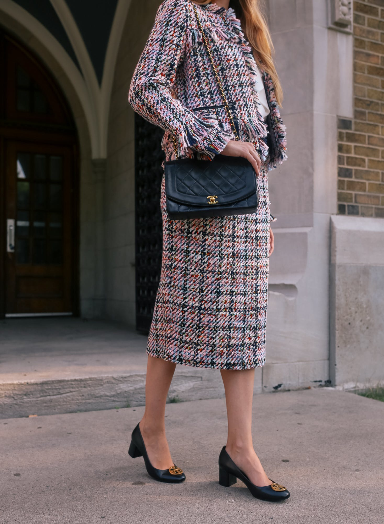 halogen tweed midi skirt