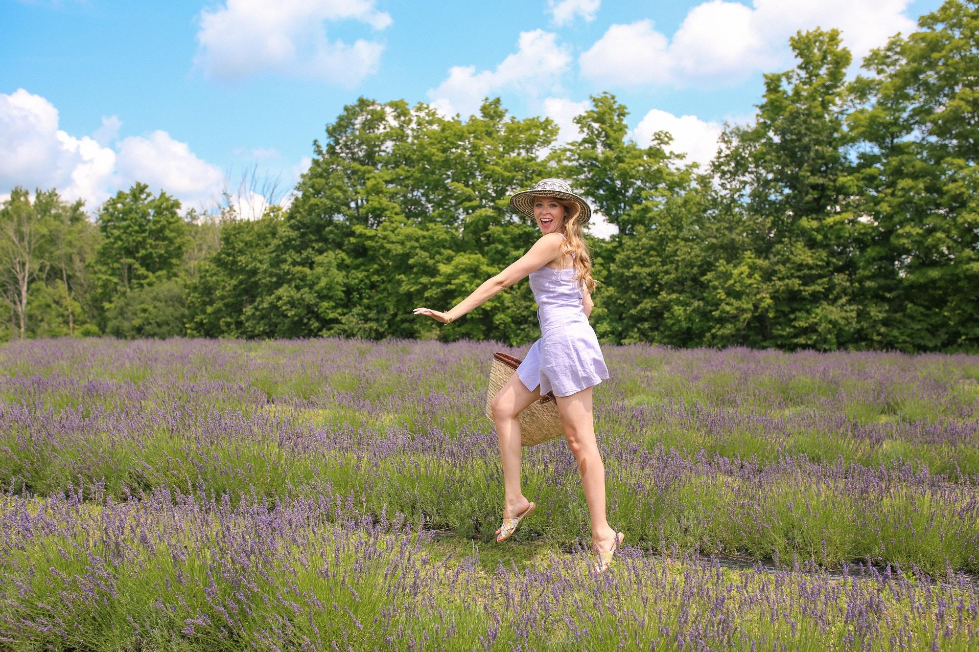 Having fun in lavender fields near Toronto