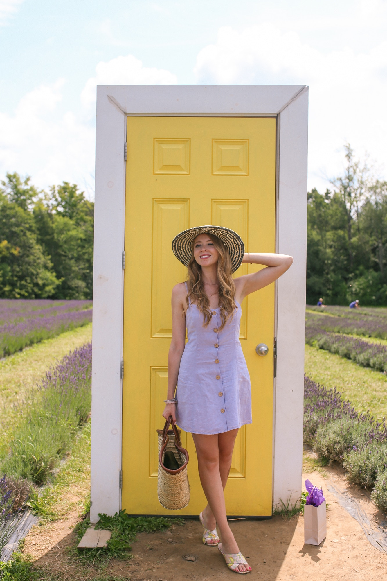 A purple linen dress is a great lightweight outfit to wear to a lavender field. This purple linen dress is from Urban Outfitters.