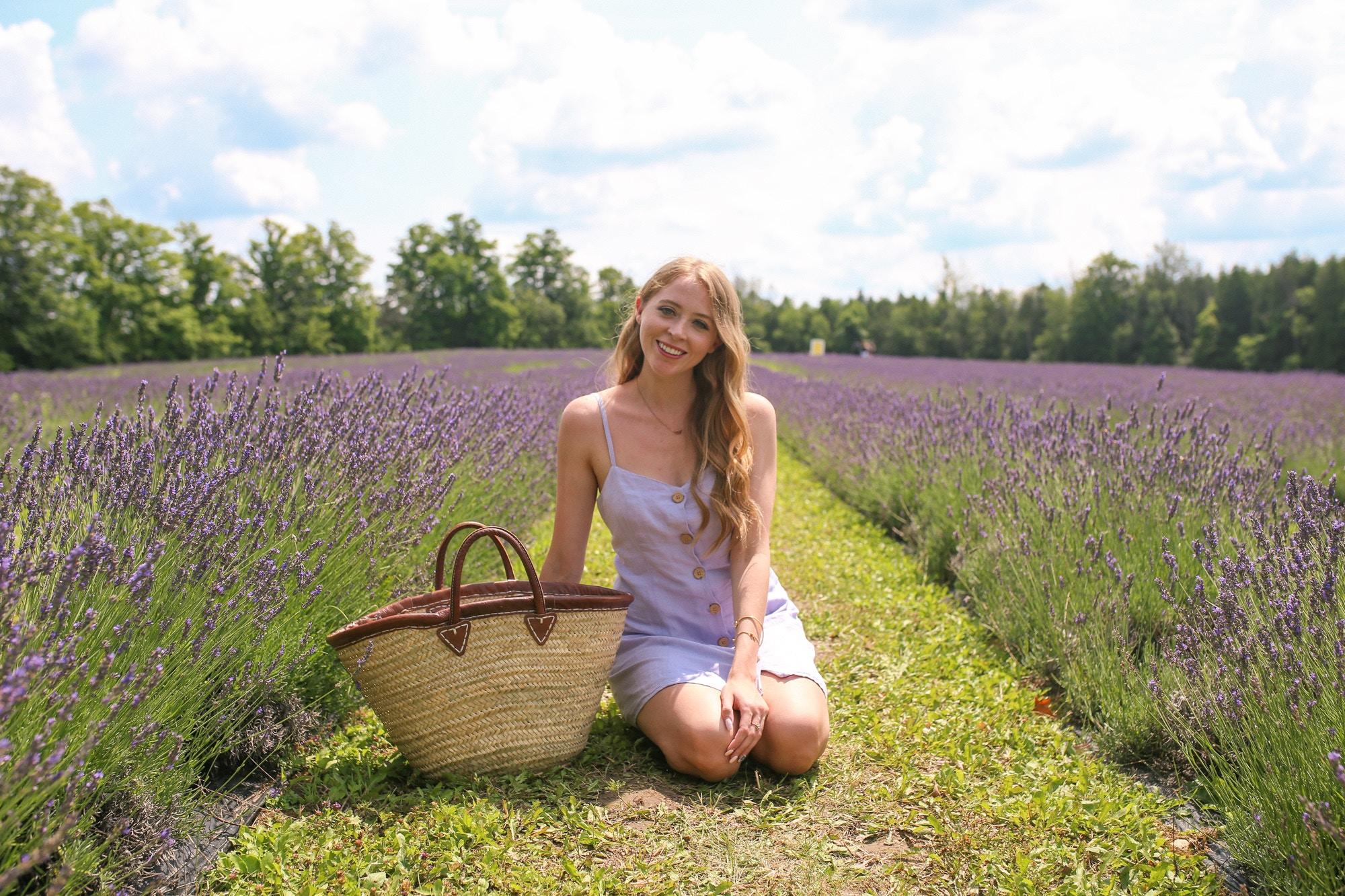 Purple linen dress in a lavender field