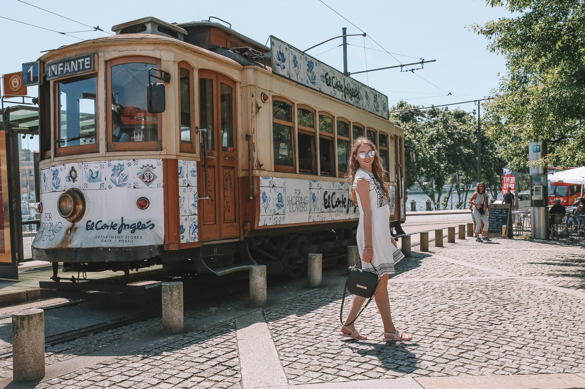 ribeira district tram porto portugal