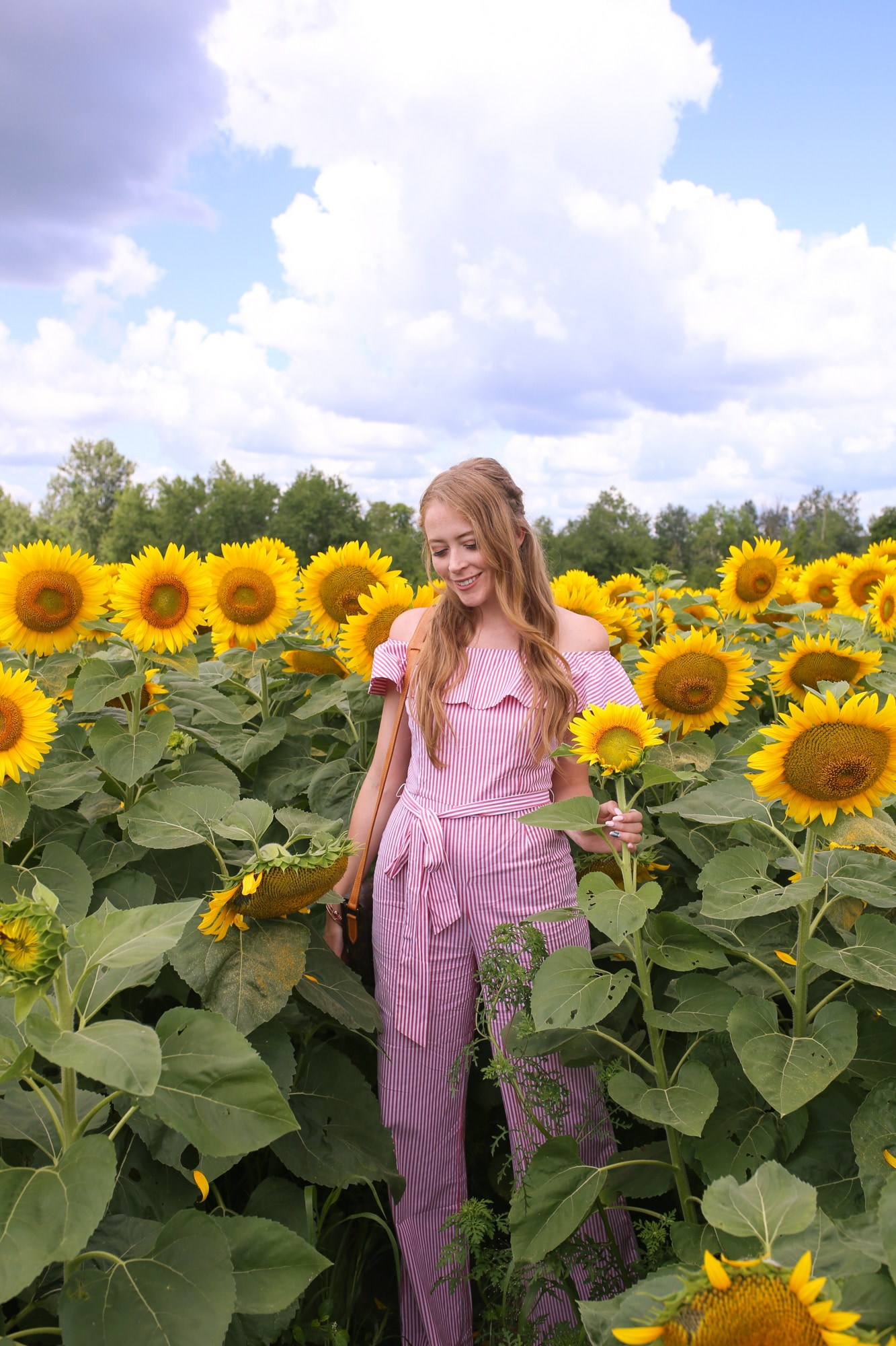 sunflower field outfit red jumpsuit