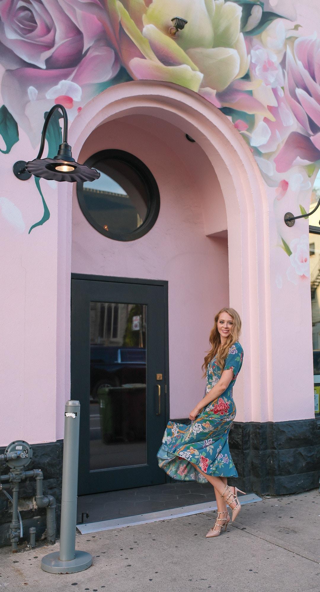 Piano Piano Toronto restaurant with pink rose murals