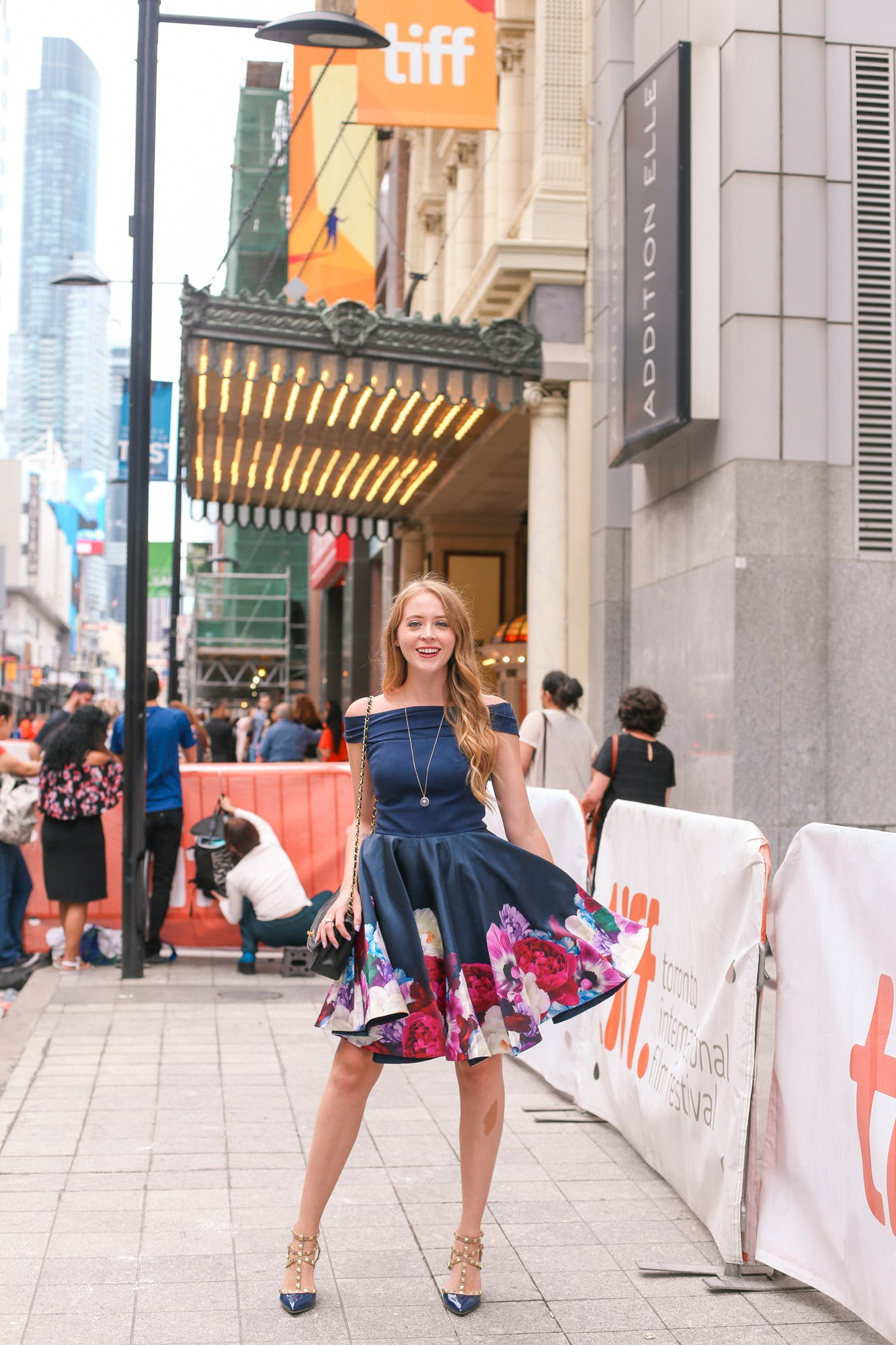 What I wore to a TIFF Premiere: Ted Baker Blushing Bouquet Bardot navy floral dress, BCBG studded shoes, Chanel Diana Bag