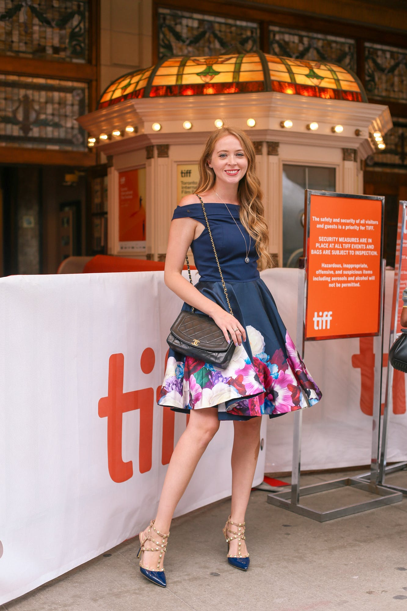 Ted Baker Blushing Bouquet Bardot Dress, Chanel Diana Bag, BCBG studded pumps