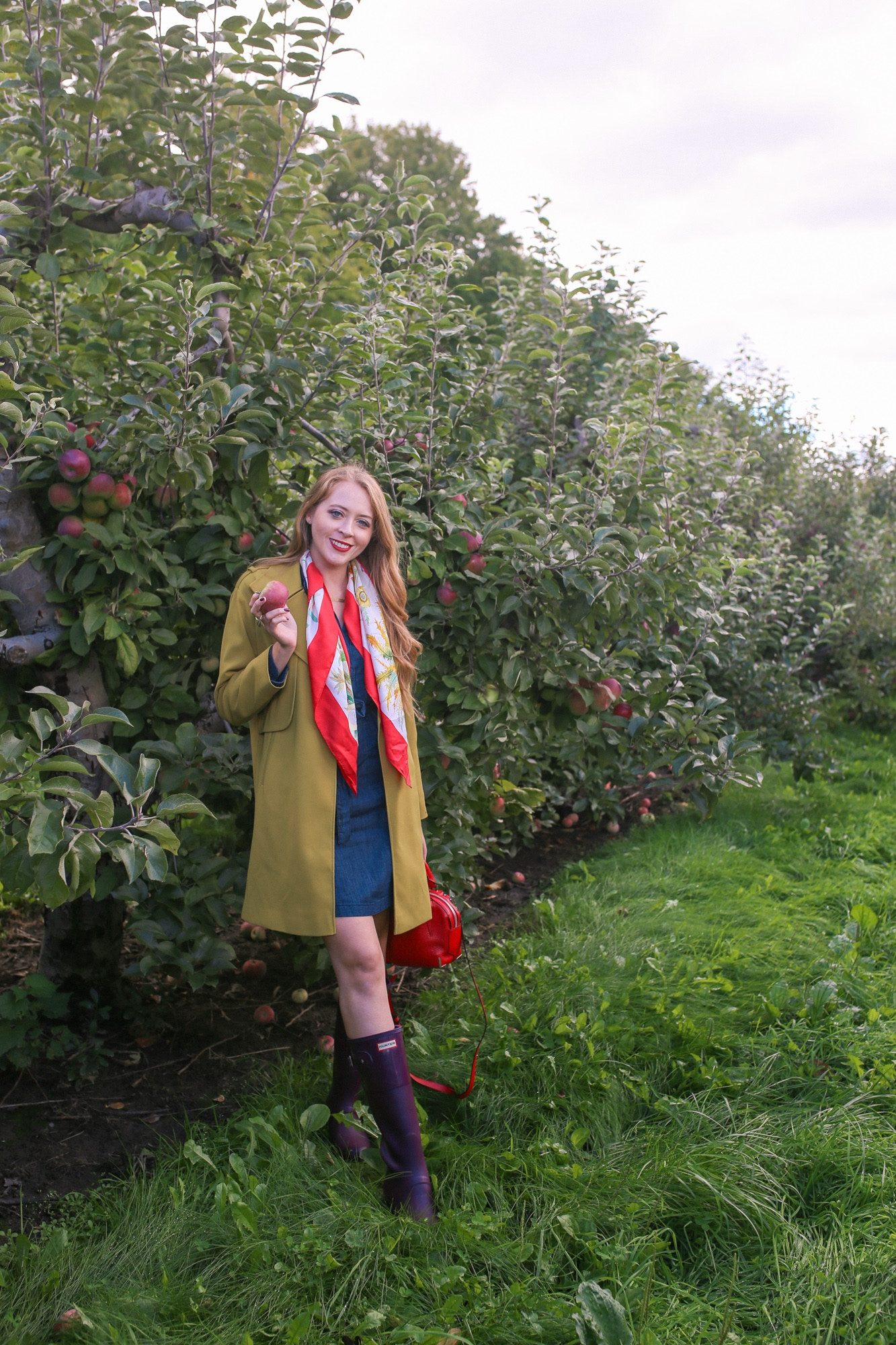 Apple picking outfit idea: green trench, vintage Gucci scarf, denim dress and Hunter boots
