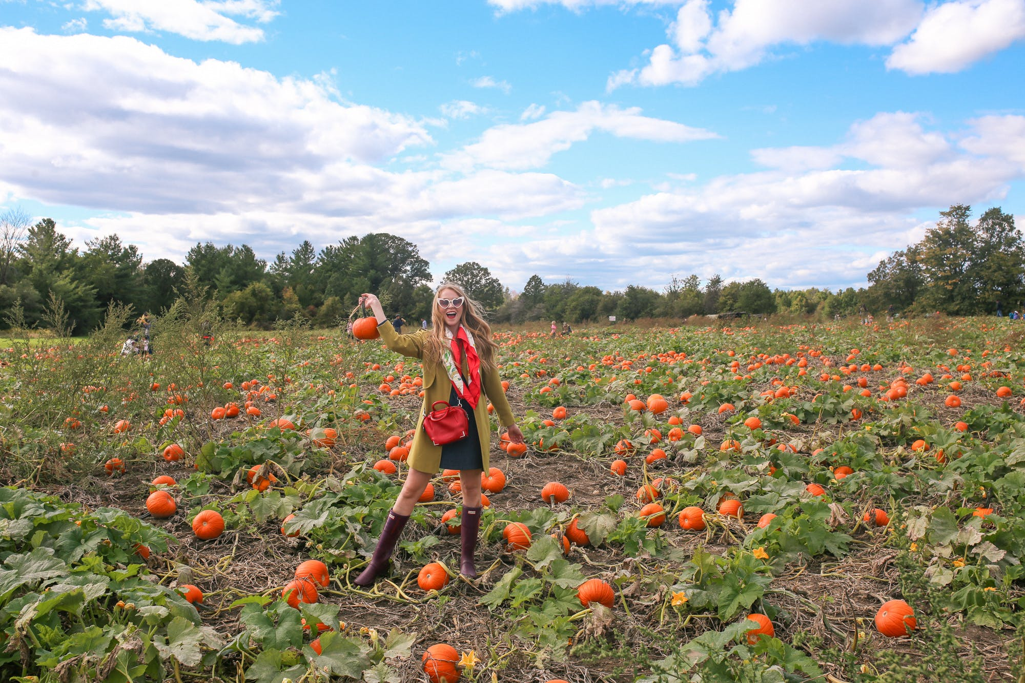 What I wore to go to a pumpkin patch: Hunter boots are a must for muddy fields, and a silk scarf is super chic.