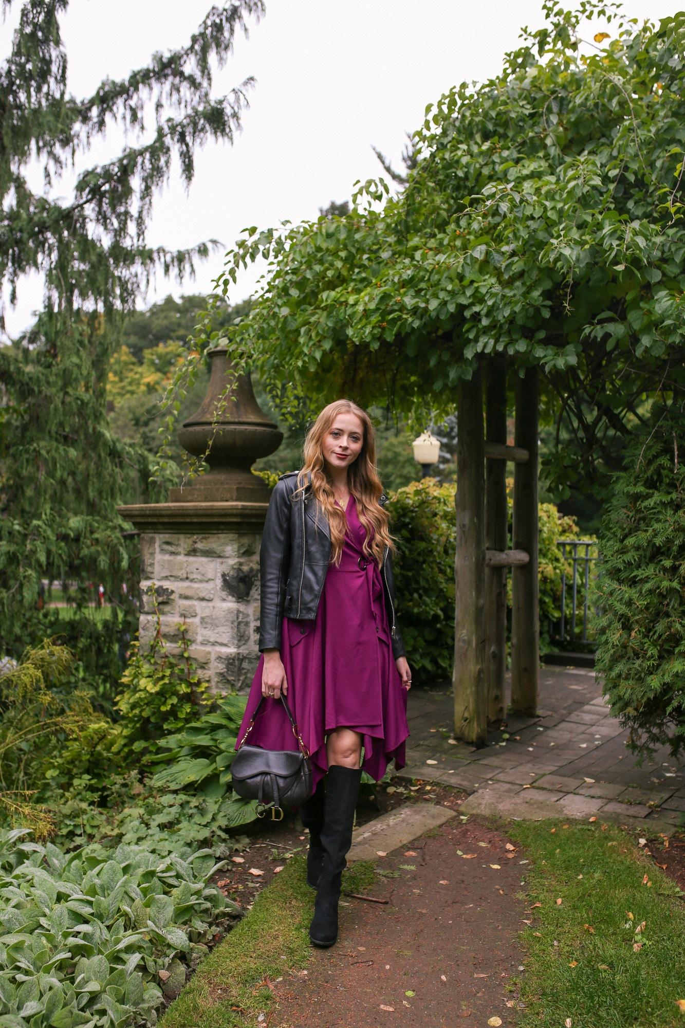 Leather jacket, Chriselle Lim collection dress and a vintage Dior saddle bag.