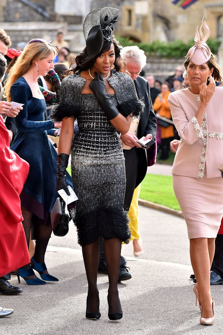 Naomi Campbell attends the Royal Wedding of Princess Eugenie wearing Ralph & Russo