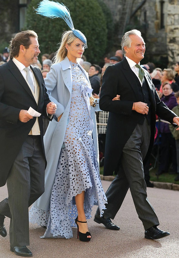 Poppy Delevingne at Princess Eugenie Royal Wedding in blue dress and coat