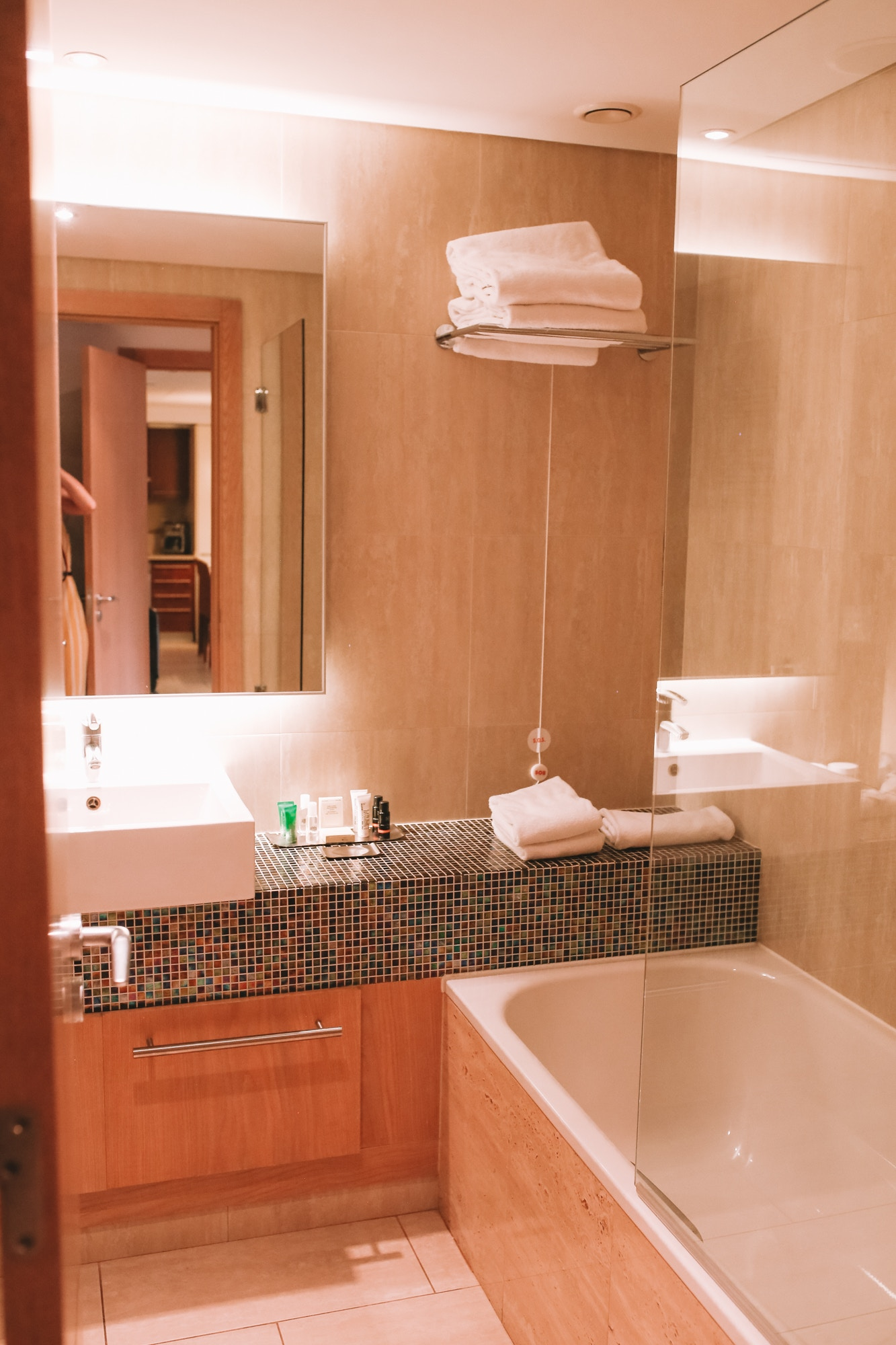 One of two bathrooms in our hotel room at Hilton Vilamoura As Cascatas Golf Resort & Spa