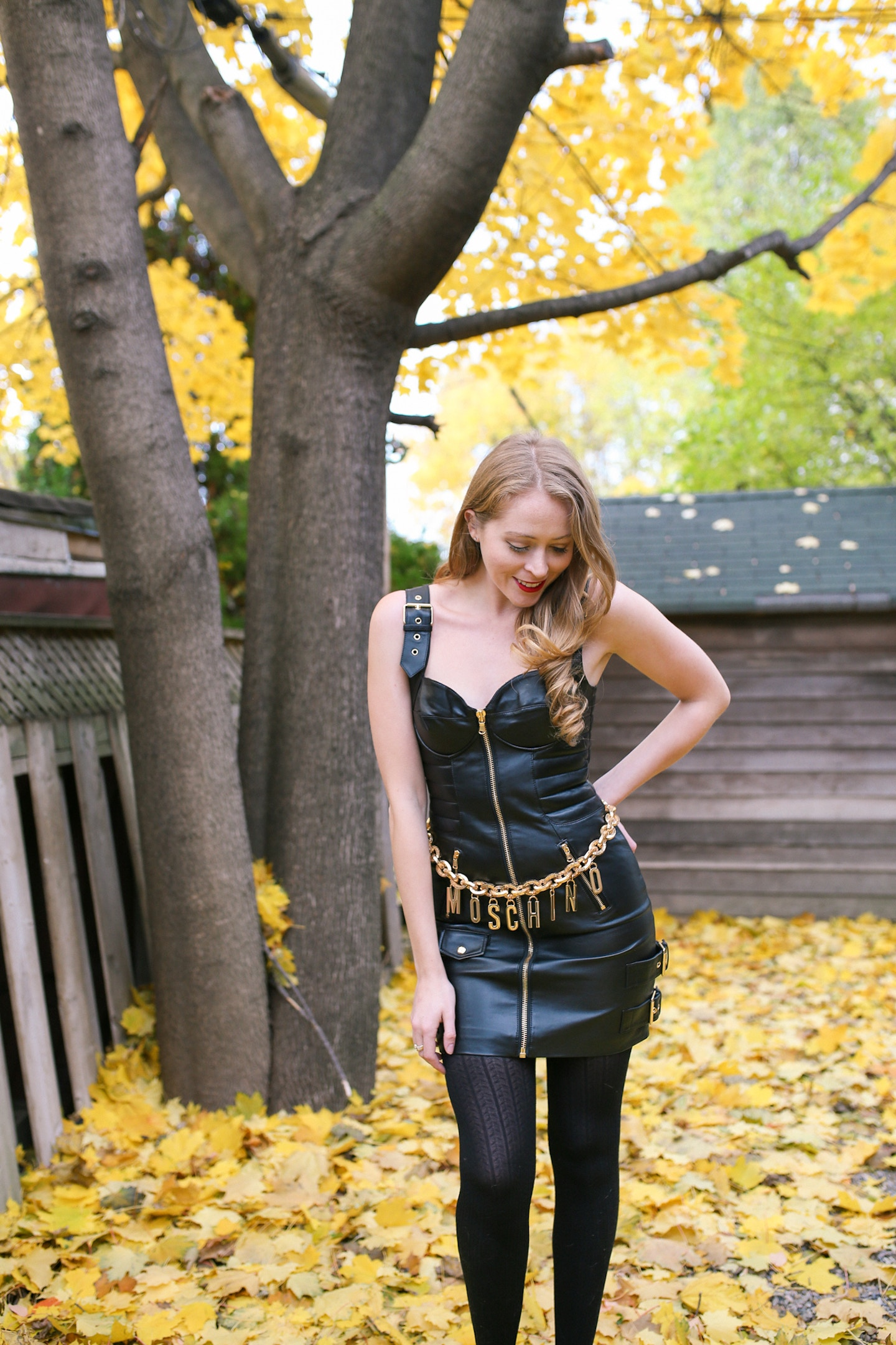 How to wear the Moschino for H&M collection: I share my H&Moschino shopping haul and how to style the leather dress and gold belt.