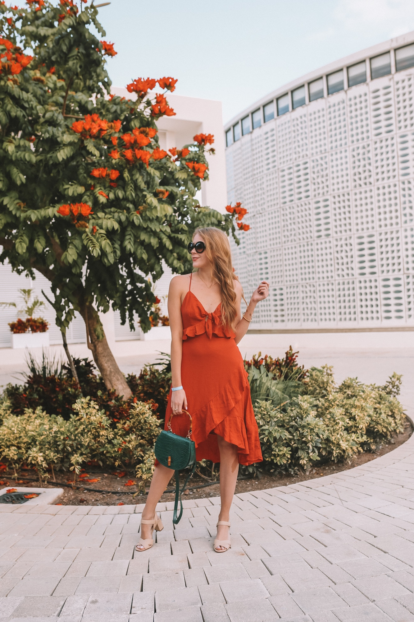Orange linen spaghetti strap dress from Forever 21 paired with dainty gold jewelry. I love wearing a simple dress and fresh, natural makeup for a resort wear look.