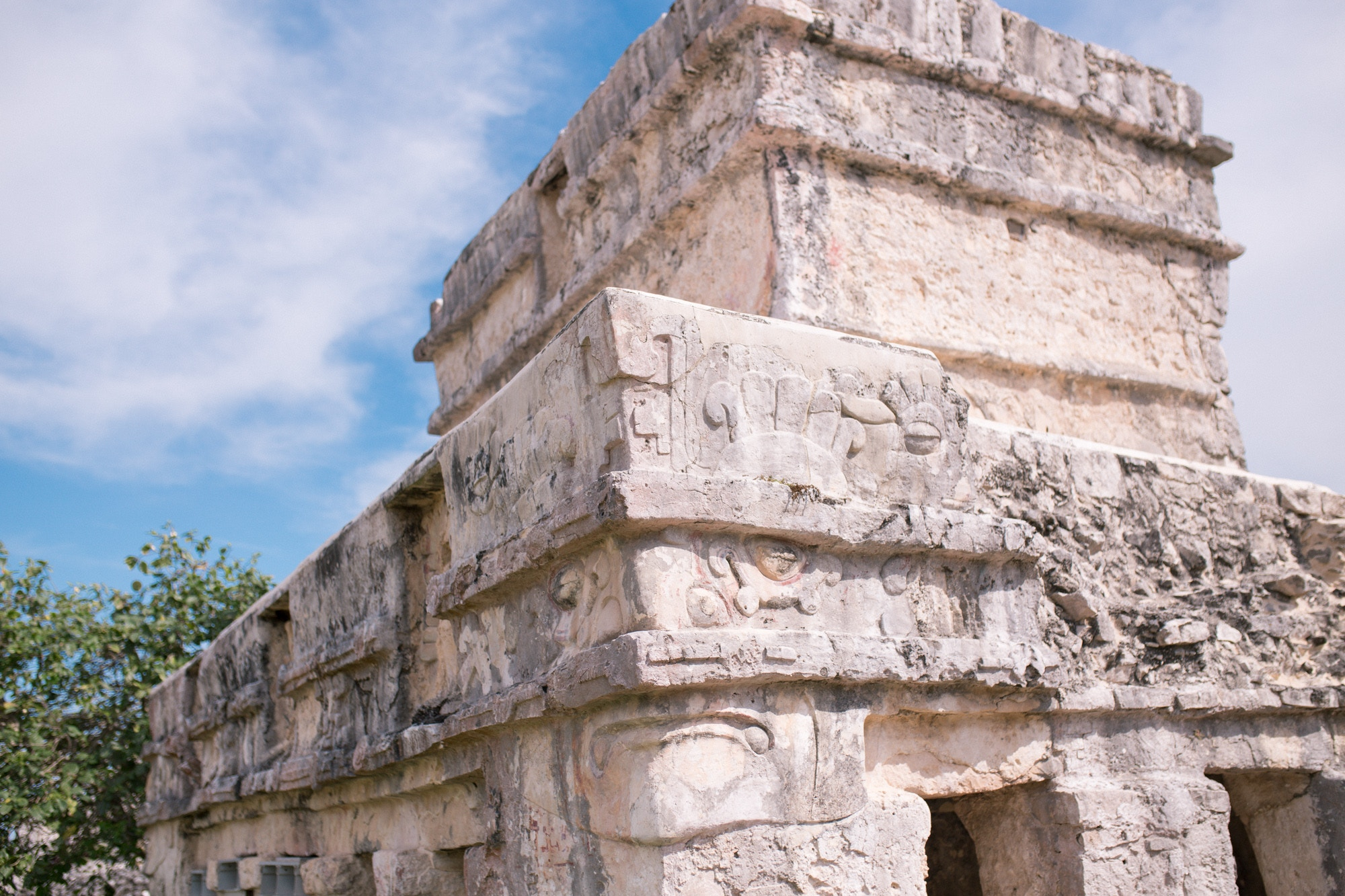 Details of a Mayan building in Tulum, Mexico