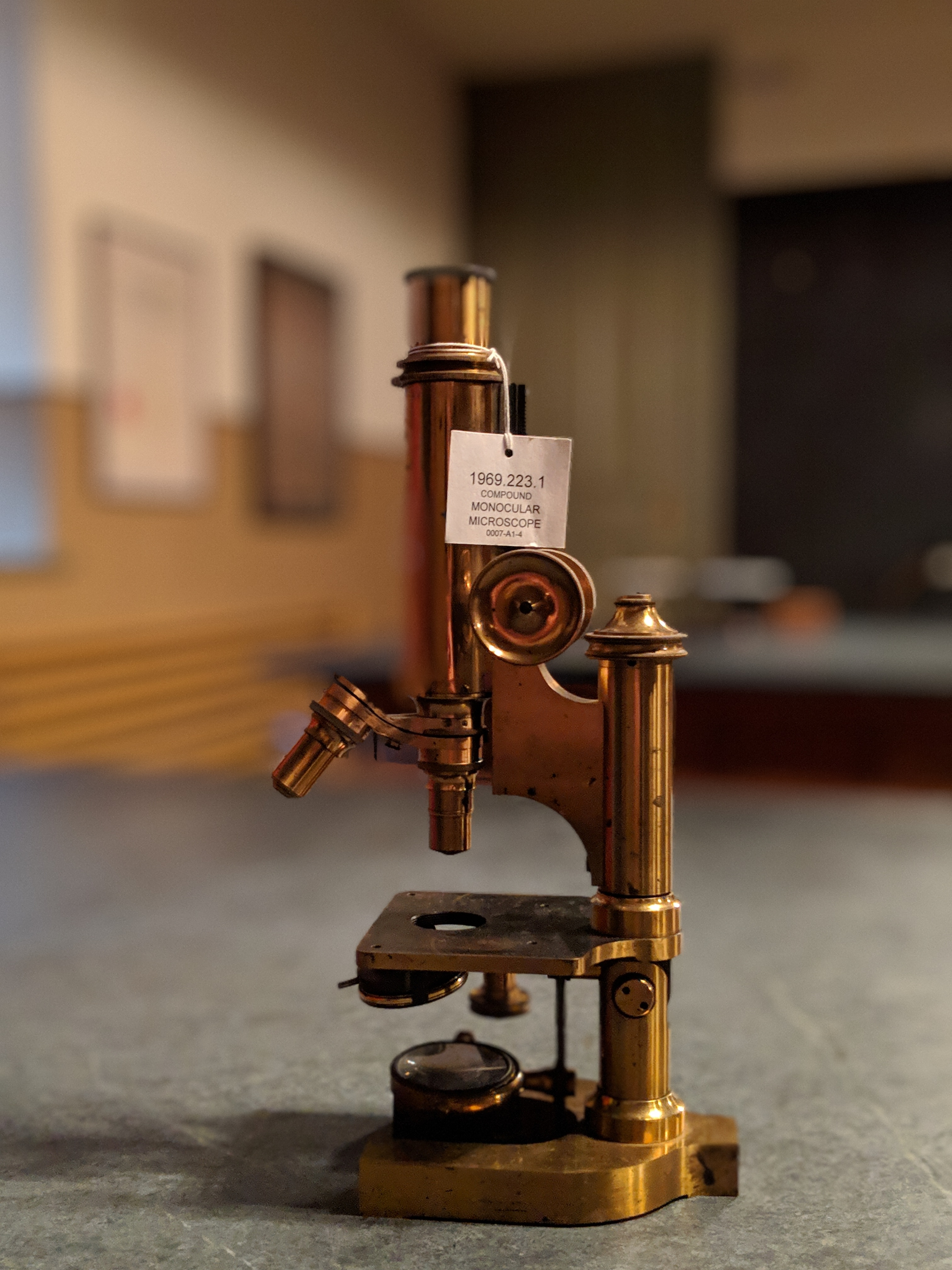 Beautiful vintage microscope on display in the Morrin Centre