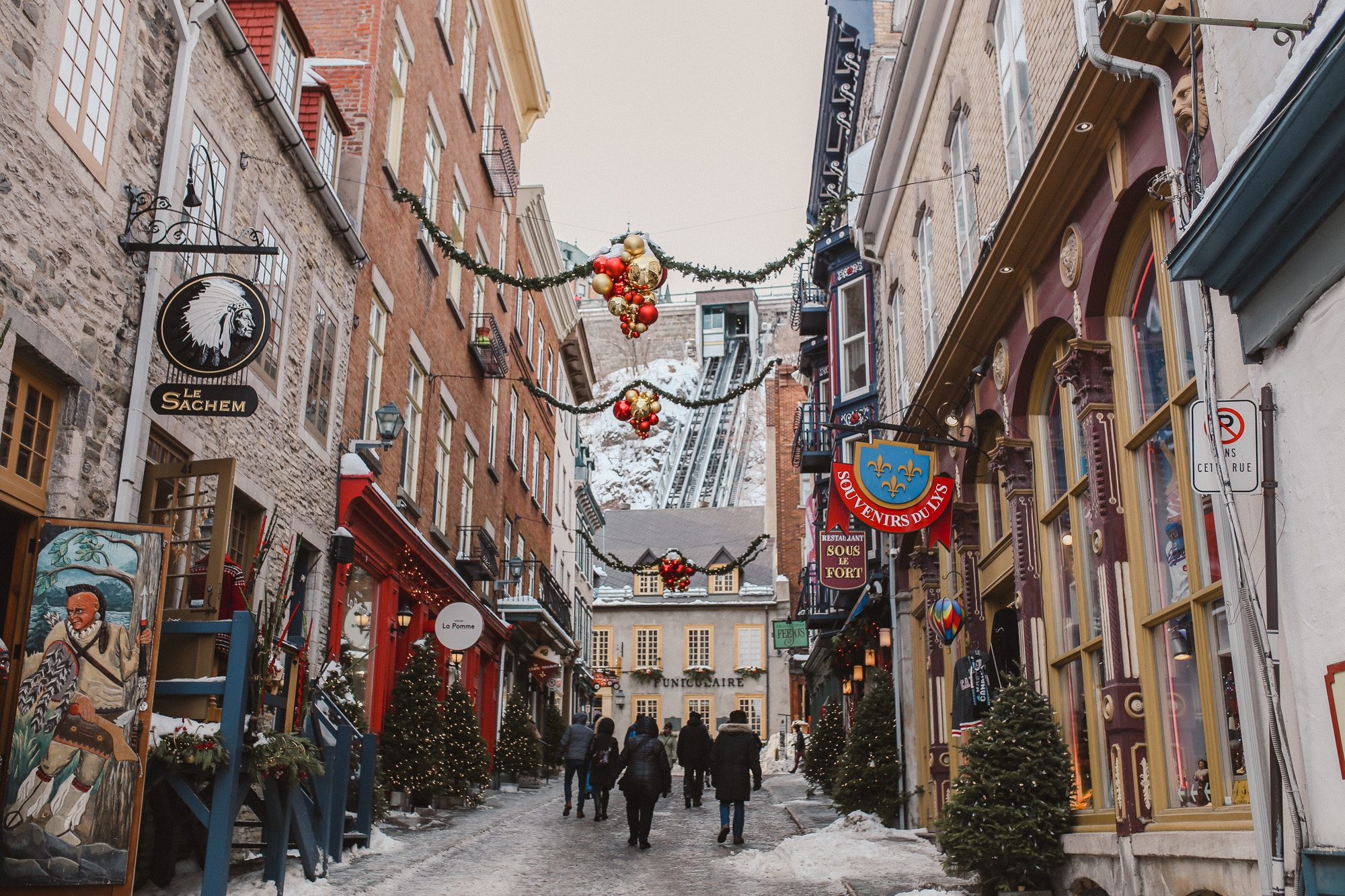 Charming Petit Champlain funicular in Old Quebec City