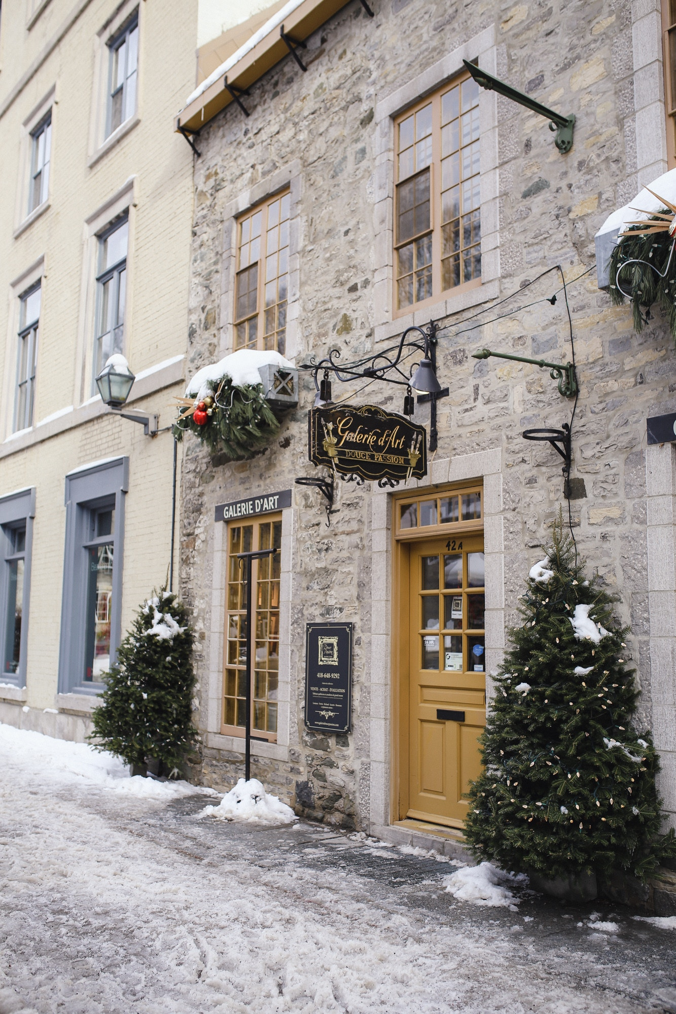 Beautiful facades in Old Quebec: Quartier Petit Champlain is full of cozy cafes, restaurants and shops.