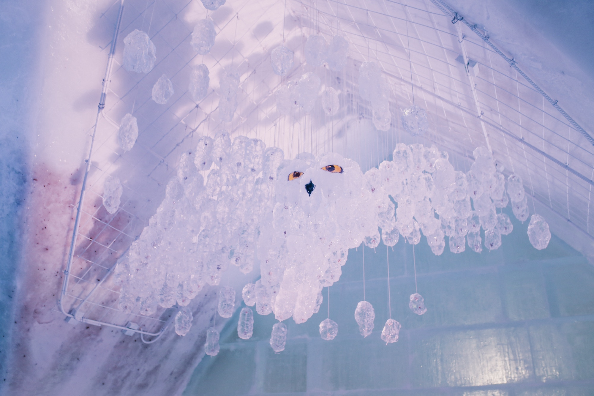 Beautiful ice sculpture at the Quebec City Ice Hotel