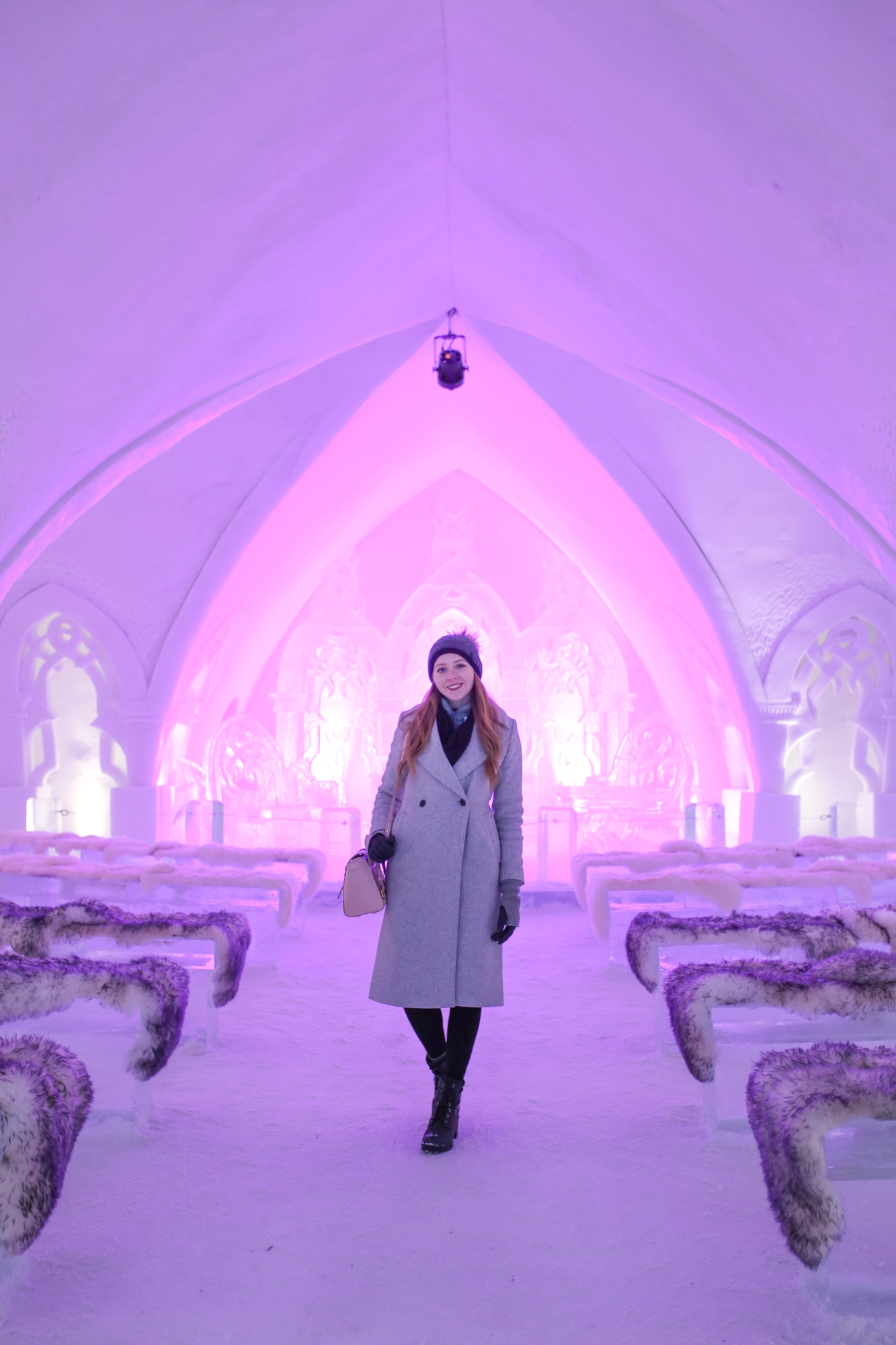 Hotel de Glâce in Valcartier near Quebec City is a must-see. This chapel is made entirely of ice and snow, and is so beautiful with LED lights and cozy fur seats.