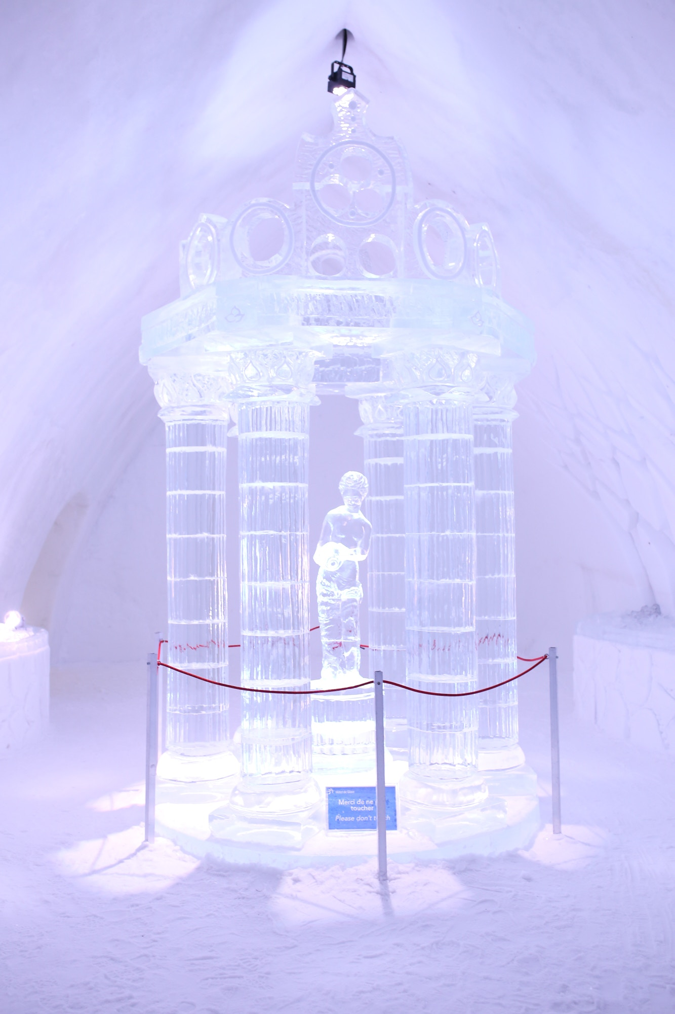 Stunning ice sculptures at the Ice Hotel in Quebec City